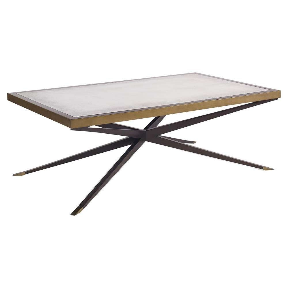 Jet Modern Cross Pin Brass Antique Mirror Coffee Table (Gallery 6 of 20)
