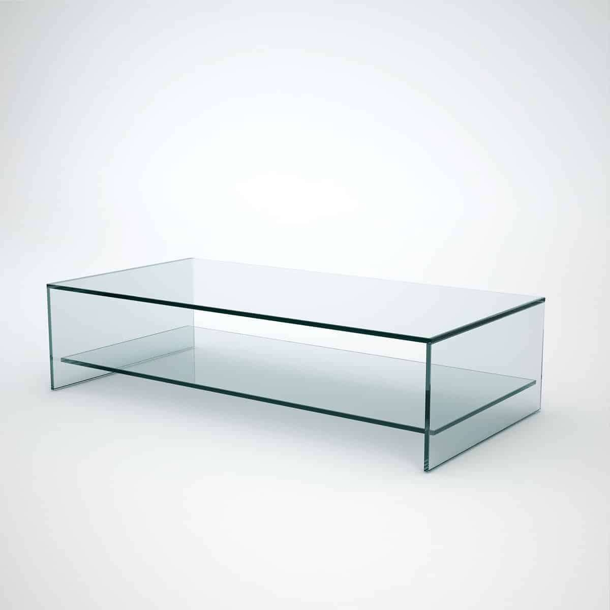 Judd – Rectangle Glass Coffee Table With Shelf – Klarity – Glass Intended For Current Glass Coffee Tables With Shelf (Gallery 1 of 20)
