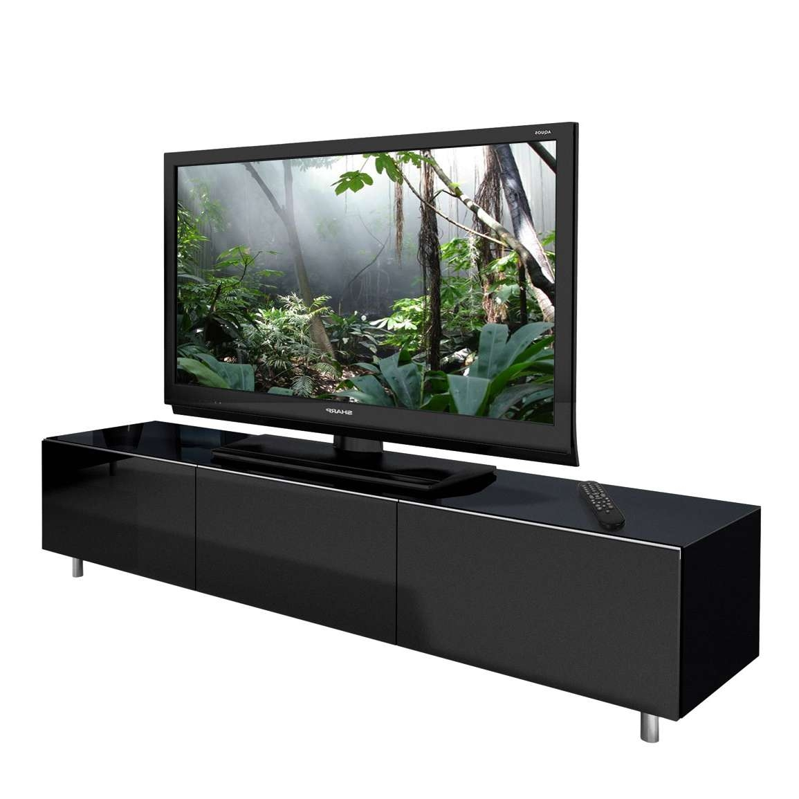 Just Racks Jrl1650 Gloss Black Tv Cabinet – Black Tv Stands Regarding Long Low Tv Cabinets (View 7 of 20)