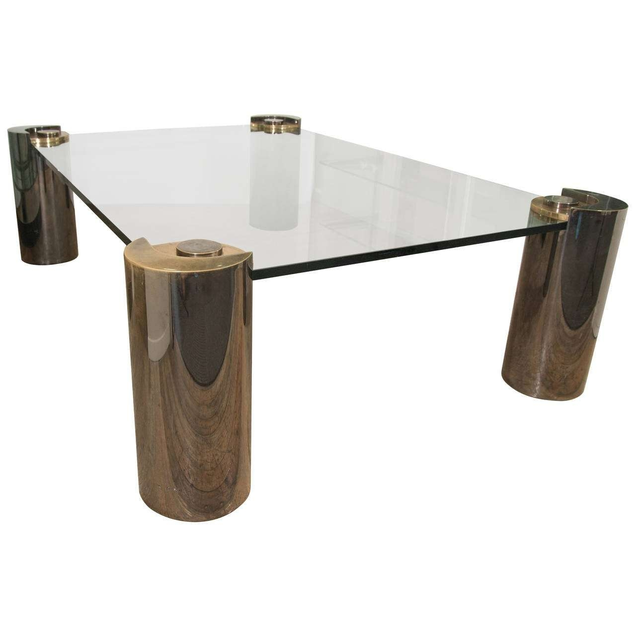 Karl Springer Glass Top Coffee Table With Cylindrical Chrome And With Regard To 2017 Coffee Tables With Chrome Legs (Gallery 14 of 20)