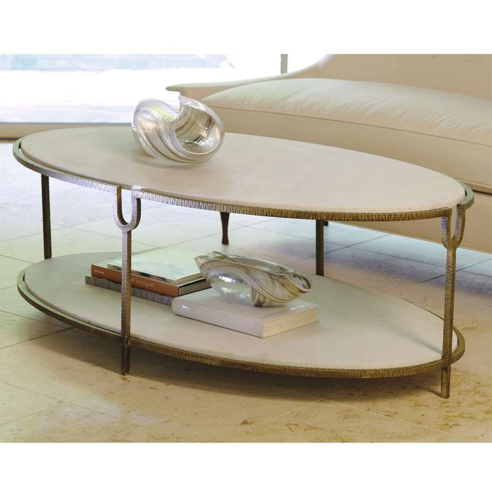 Katherine Hollywood Regency Ivory Stone Oval Coffee Table (Gallery 18 of 20)