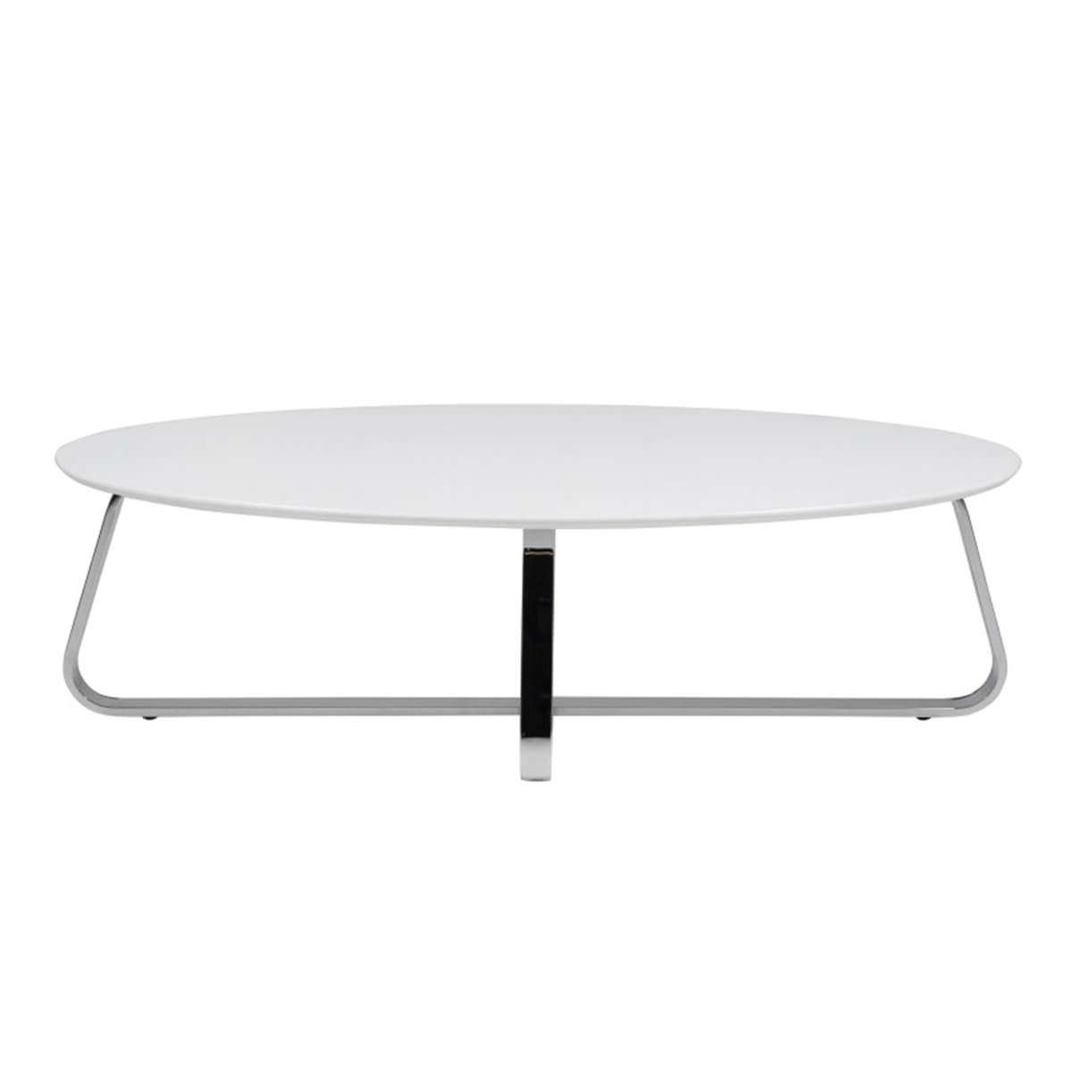 Kelley White Oval Coffee Table With Ultra Modern Chrome Legs (View 20 of 20)