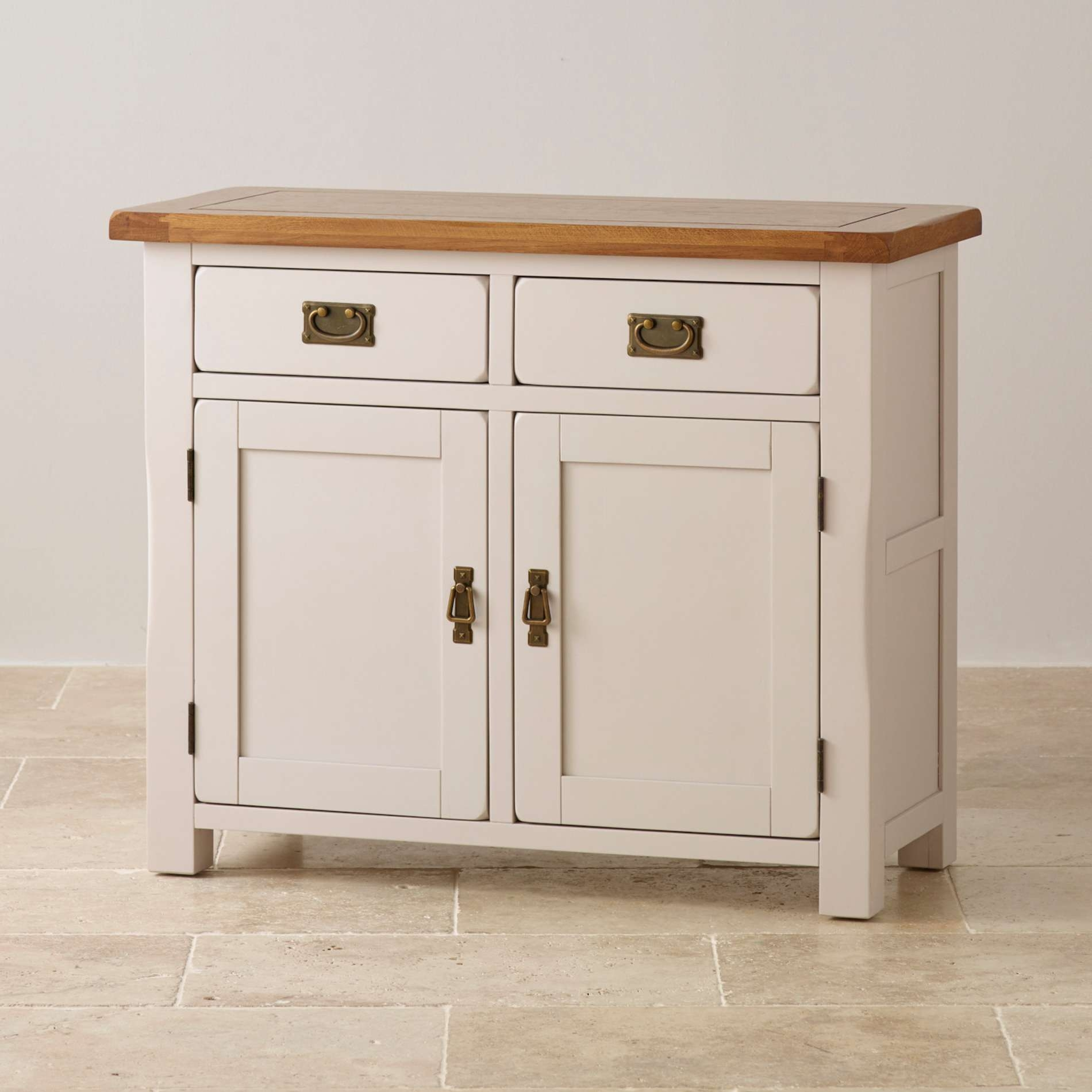 Kemble Small Painted Sideboard In Rustic Solid Oak Pertaining To Sideboards Cabinets Gallery 2