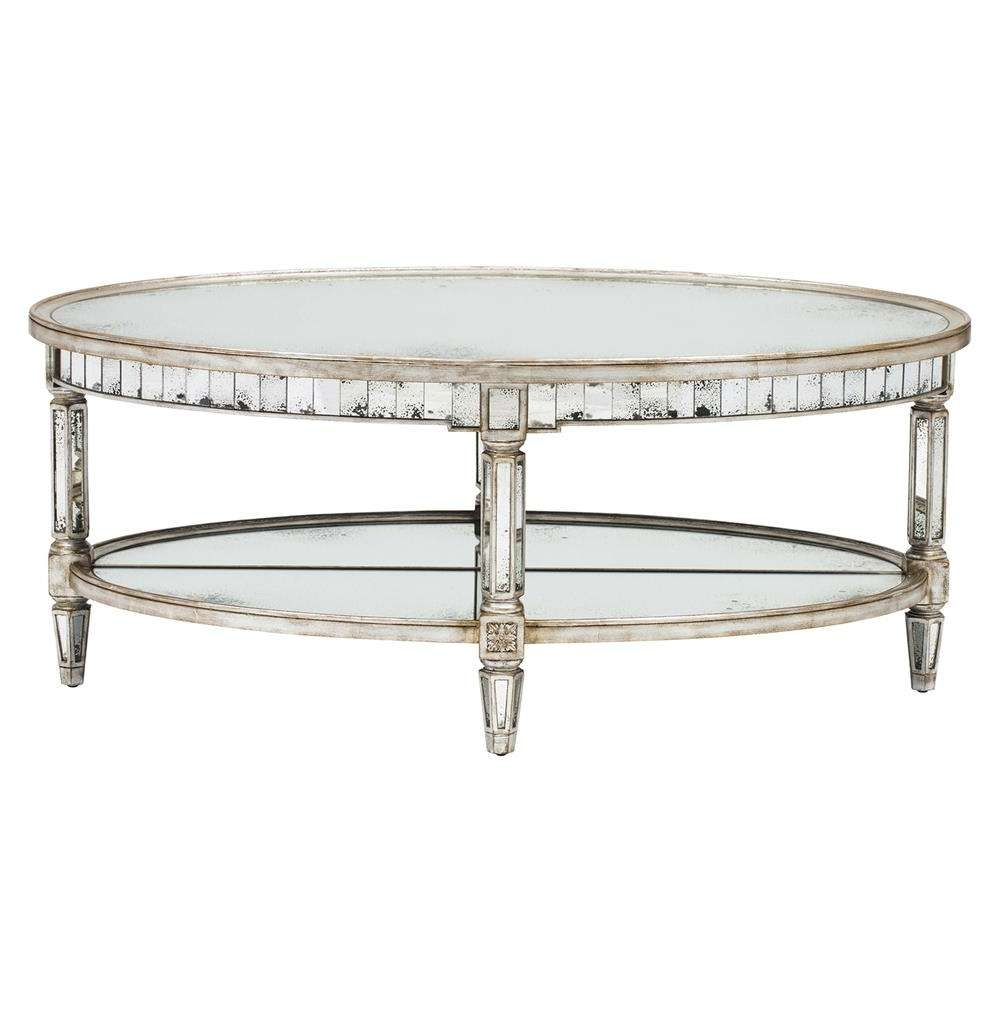 Kendrick Hollywood Regency Silver Antique Mirror Coffee Table Throughout Popular Oval Mirrored Coffee Tables (View 13 of 20)