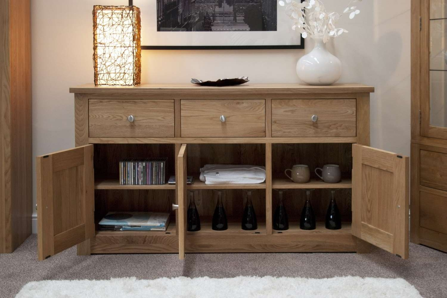 Kingston Solid Oak Living Dining Room Furniture Large Storage Pertaining To Dining Room Sideboards (View 3 of 20)