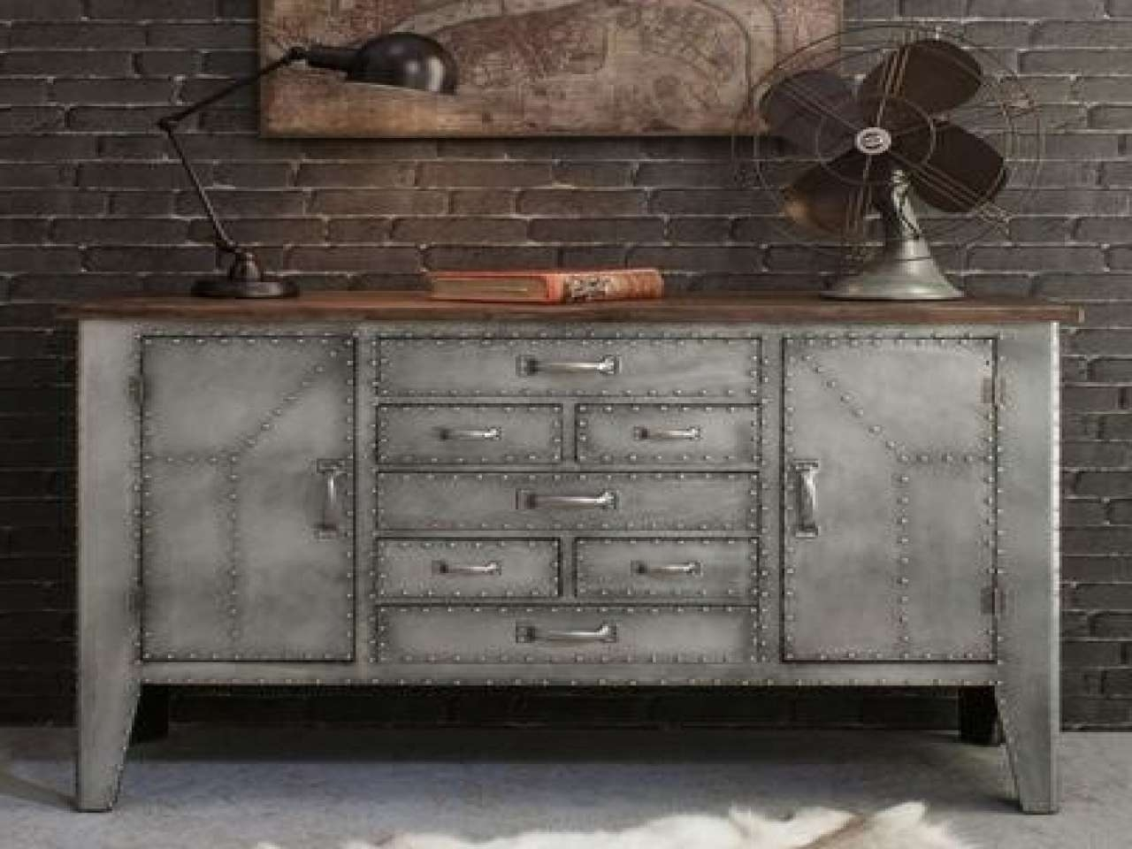 Kitchen Wall Clocks, Rustic Kitchen With Tin Rustic Tin Walls Within Metal Sideboards (View 13 of 20)