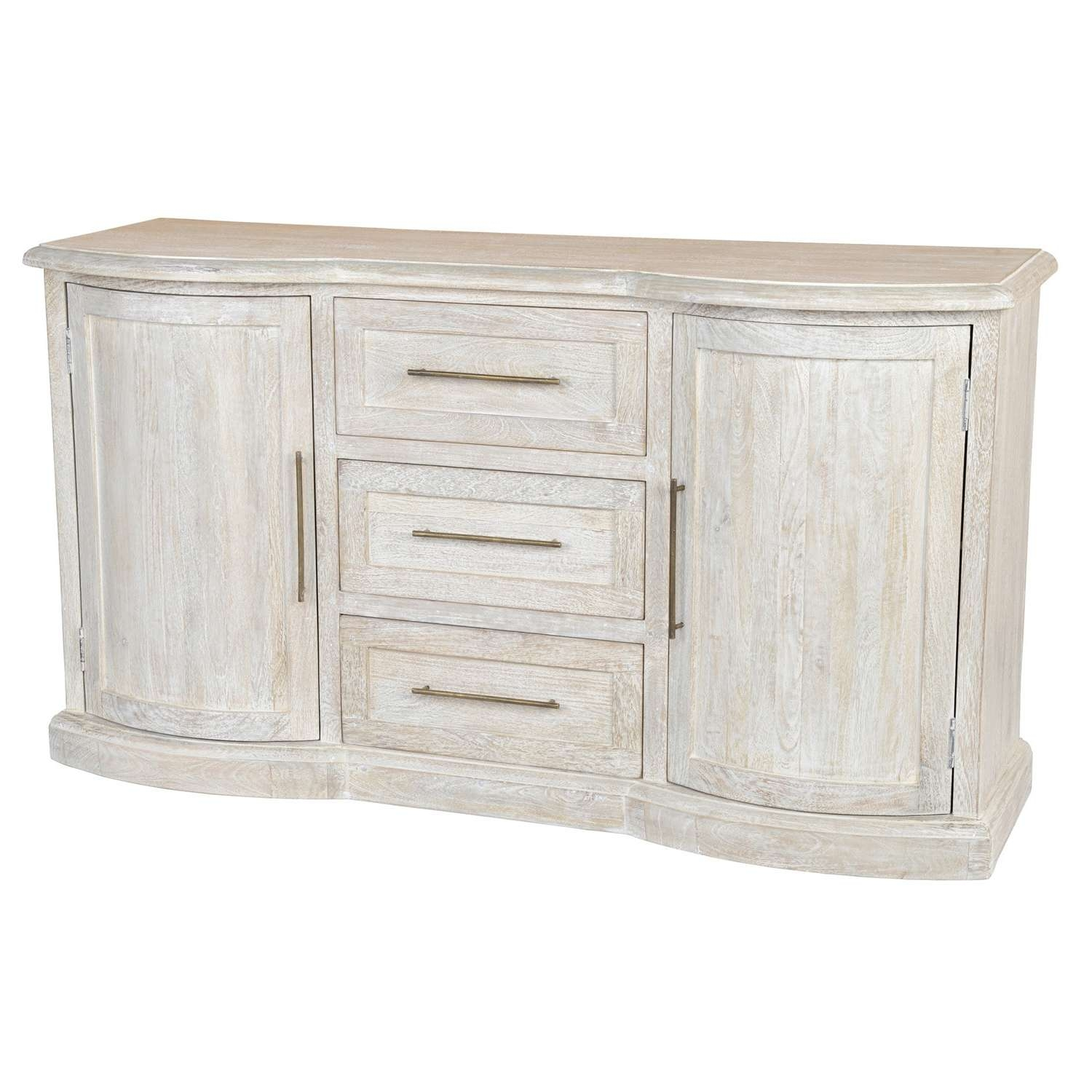 Kosas Home Norman Antique White Solid Wood Sideboard – Free Within Antique White Sideboards (View 9 of 20)