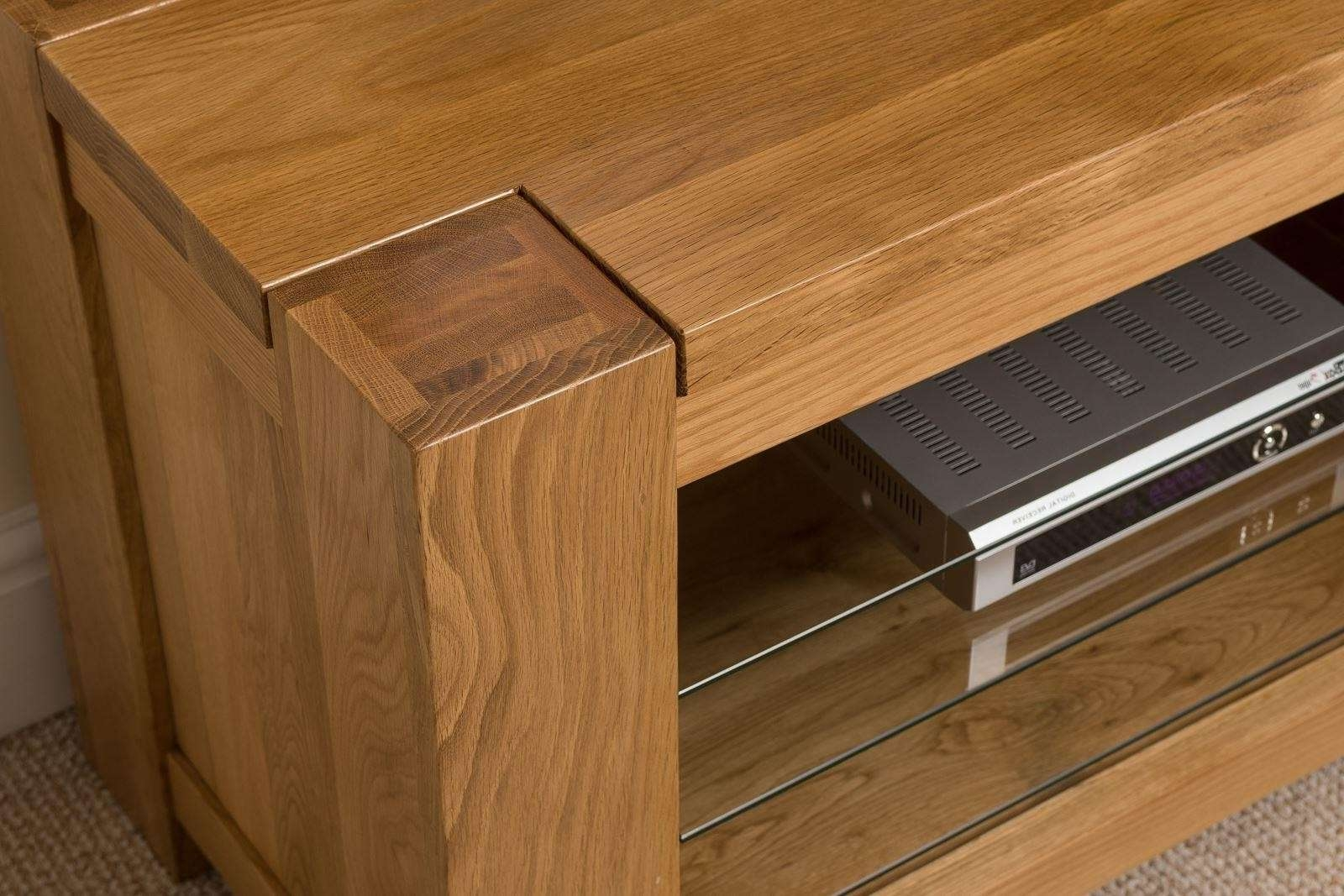 Kuba Solid Oak Tv Unit Cabinet | Free Uk Delivery Regarding Chunky Tv Cabinets (View 13 of 20)