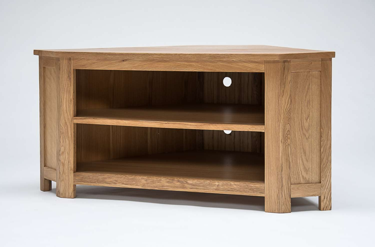 Lansdown Oak Low Corner Tv Cabinet | Oak Furniture Solutions In Light Oak Corner Tv Cabinets (View 6 of 20)