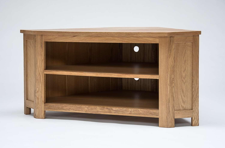 Lansdown Oak Low Corner Tv Cabinet | Oak Furniture Solutions In Light Oak Corner Tv Cabinets (View 8 of 20)