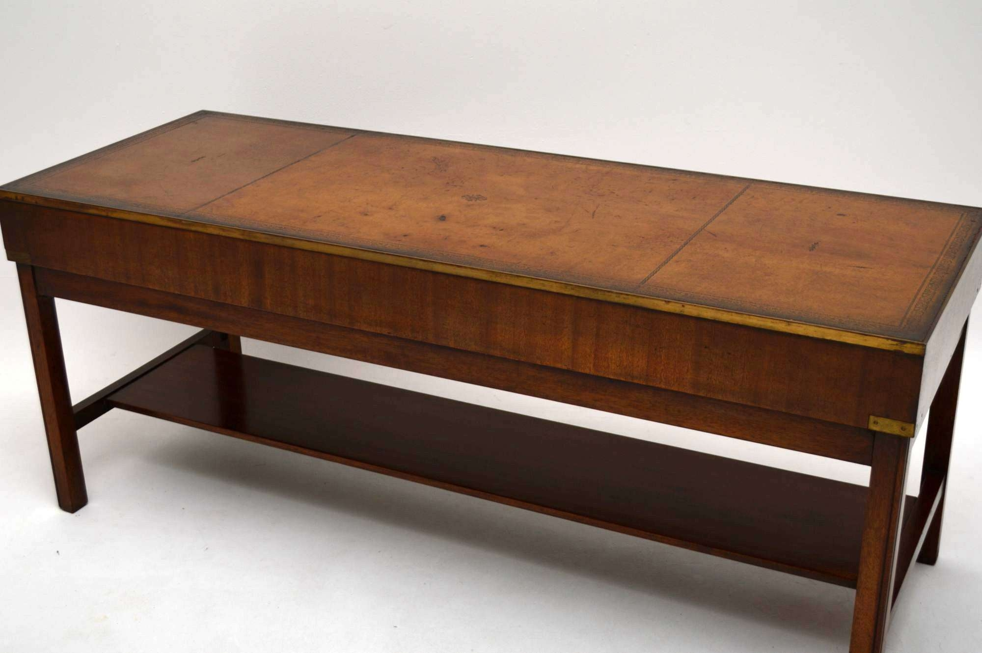 Large Antique Campaign Style Mahogany Coffee Table – Marylebone Regarding Well Known Campaign Coffee Tables (View 8 of 20)