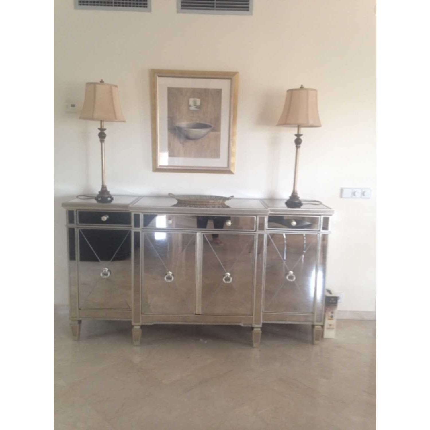 Large Antique Seville Venetian Mirrored Glass Sideboard 4 Door Within Glass Sideboards (View 5 of 20)