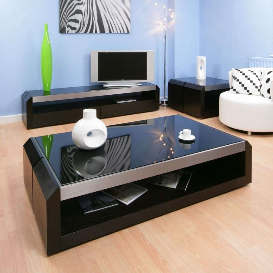 Large Black Oak / Glass Coffee / Lamp / Side Table Modern Designer Pertaining To Latest Oak And Glass Coffee Table (View 13 of 20)