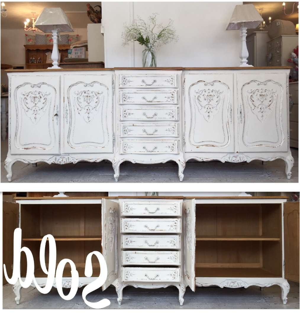 Large Breakfront Shabby Chic Buffet Unit – Home Sweet Homehome Intended For Shabby Chic Sideboards (View 8 of 20)