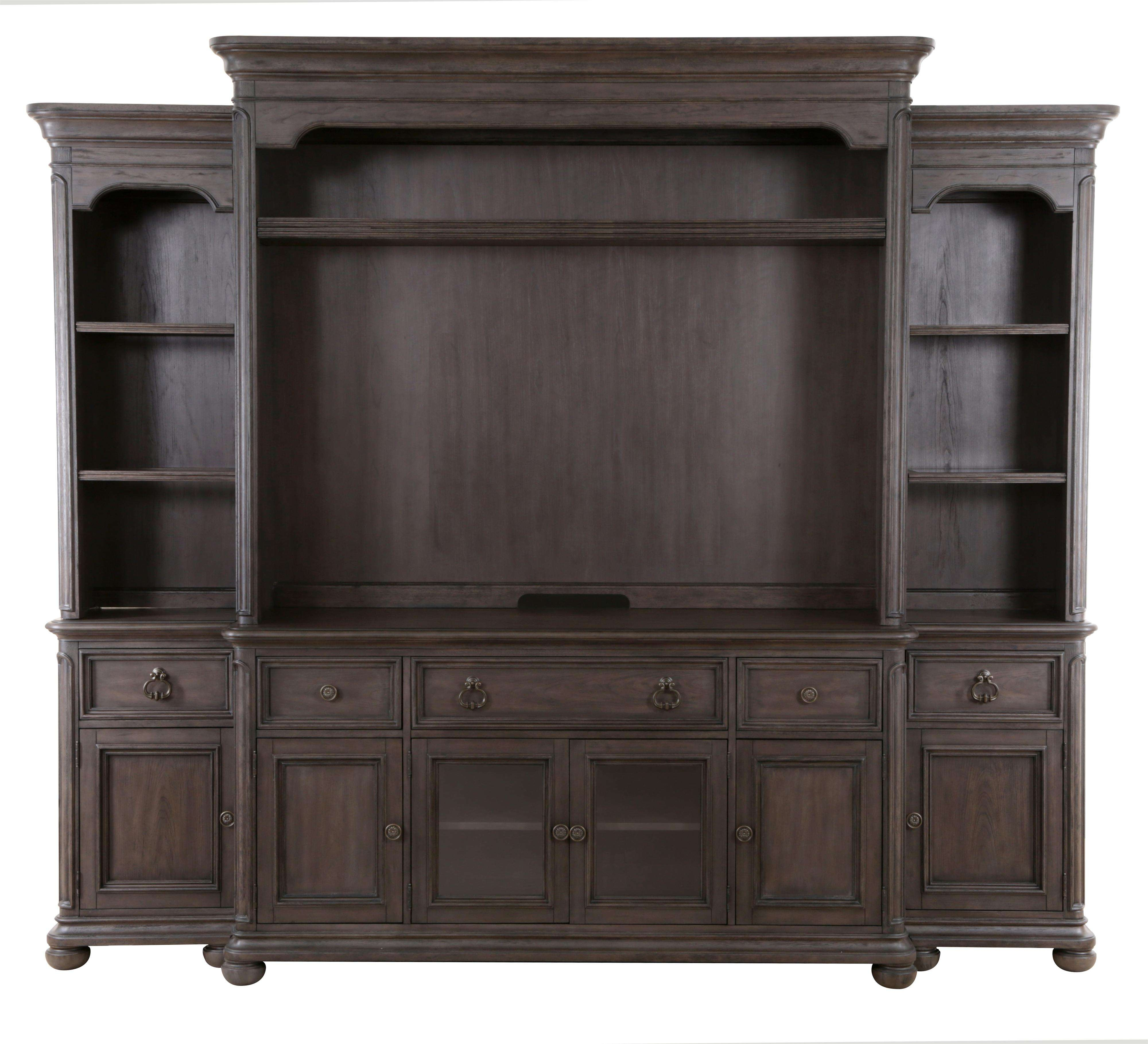 Large Dark Brown Wooden Tv Cabinet With Storage And Shelves Within Traditional Tv Cabinets (View 18 of 20)