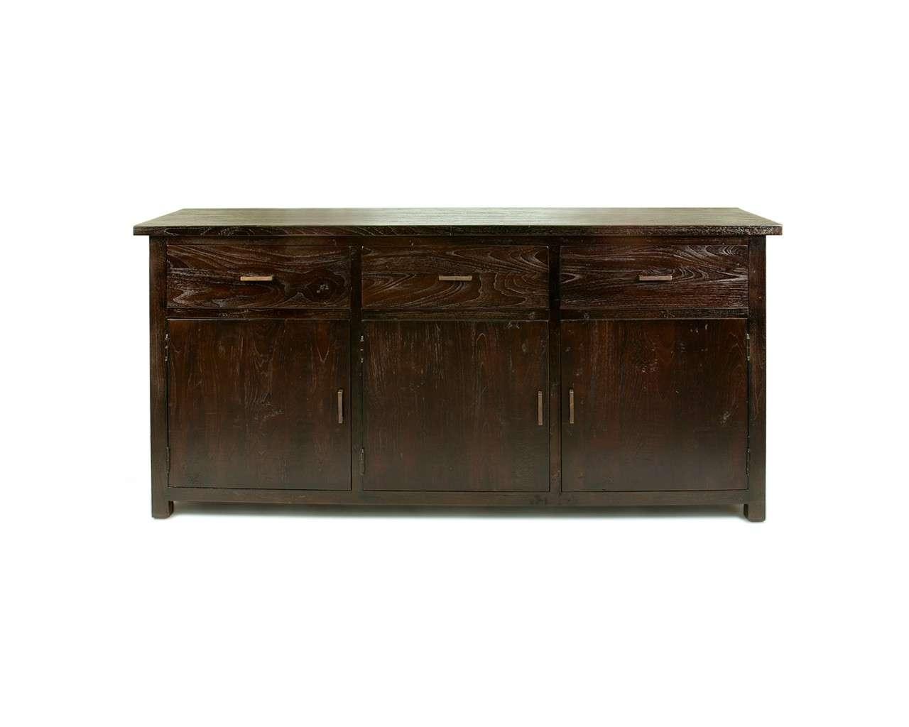 Large Dark Teak Sideboard – Reclaimed Wood Contemporary Furniture With Dark Brown Sideboards (View 8 of 20)