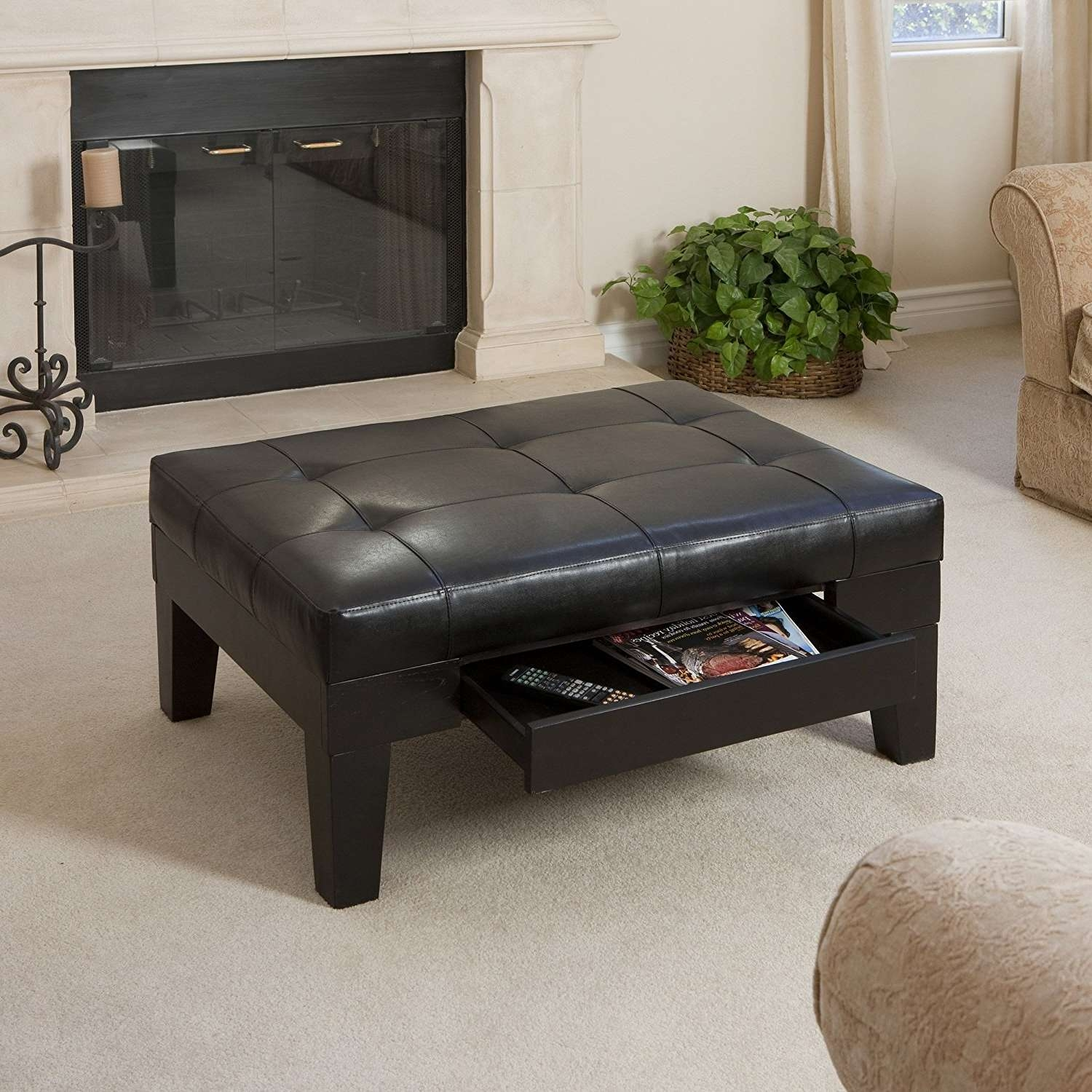 Large Footstool Coffee Table Tags : Fabulous Leather Storage In Latest Large Coffee Table With Storage (View 18 of 20)