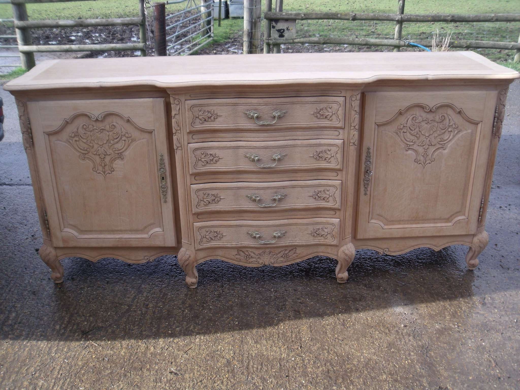 Large French Louis Xv Style Natural Oak Carved Sideboard | Antique Inside French Sideboards (View 11 of 20)