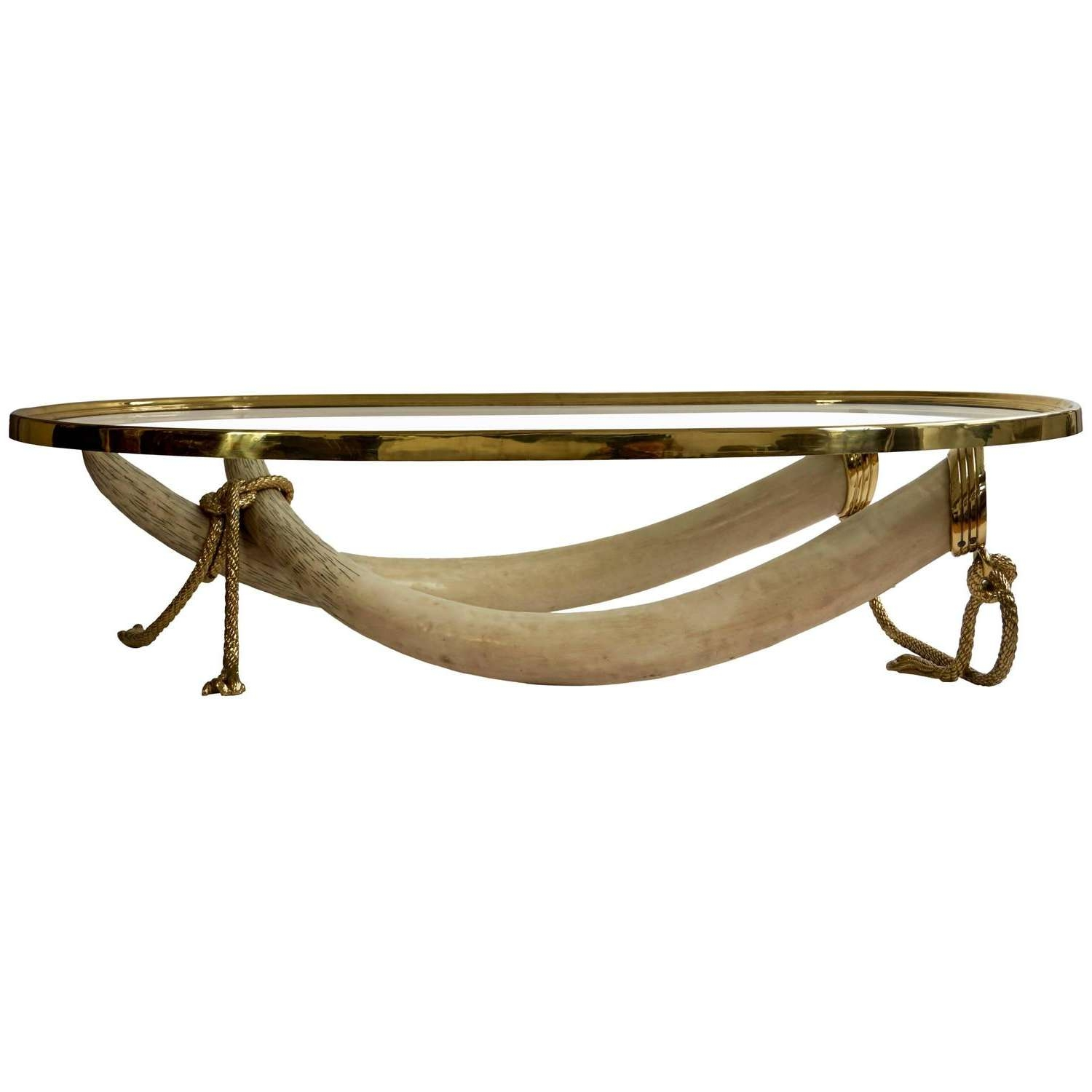 Large Glass And Brass Elephant Tusk Base Coffee Tablevalenti Within Most Up To Date Elephant Coffee Tables (View 15 of 20)