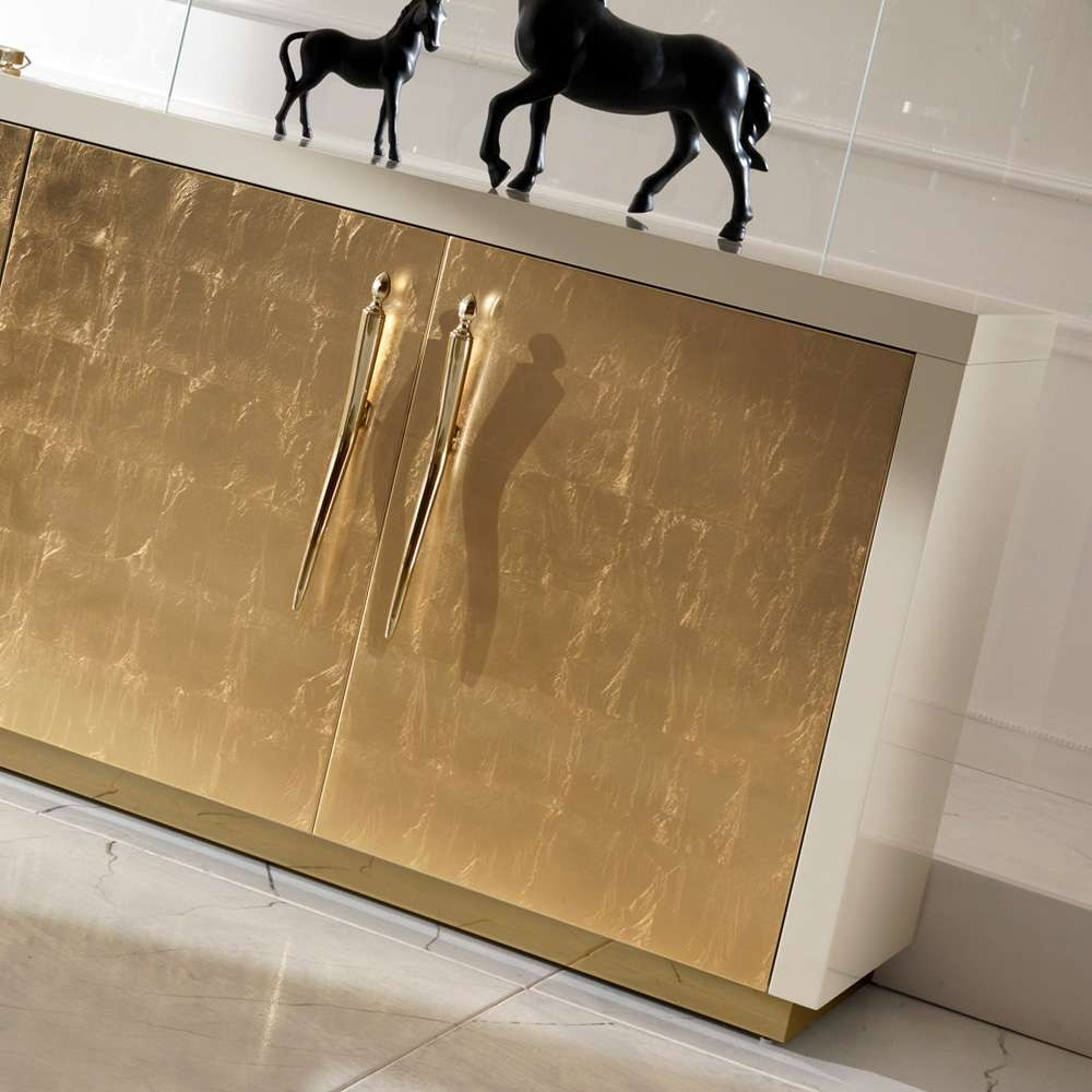 Large High End Gold Leaf Sideboard | Juliettes Interiors – Chelsea Throughout Gold Sideboards (View 12 of 20)