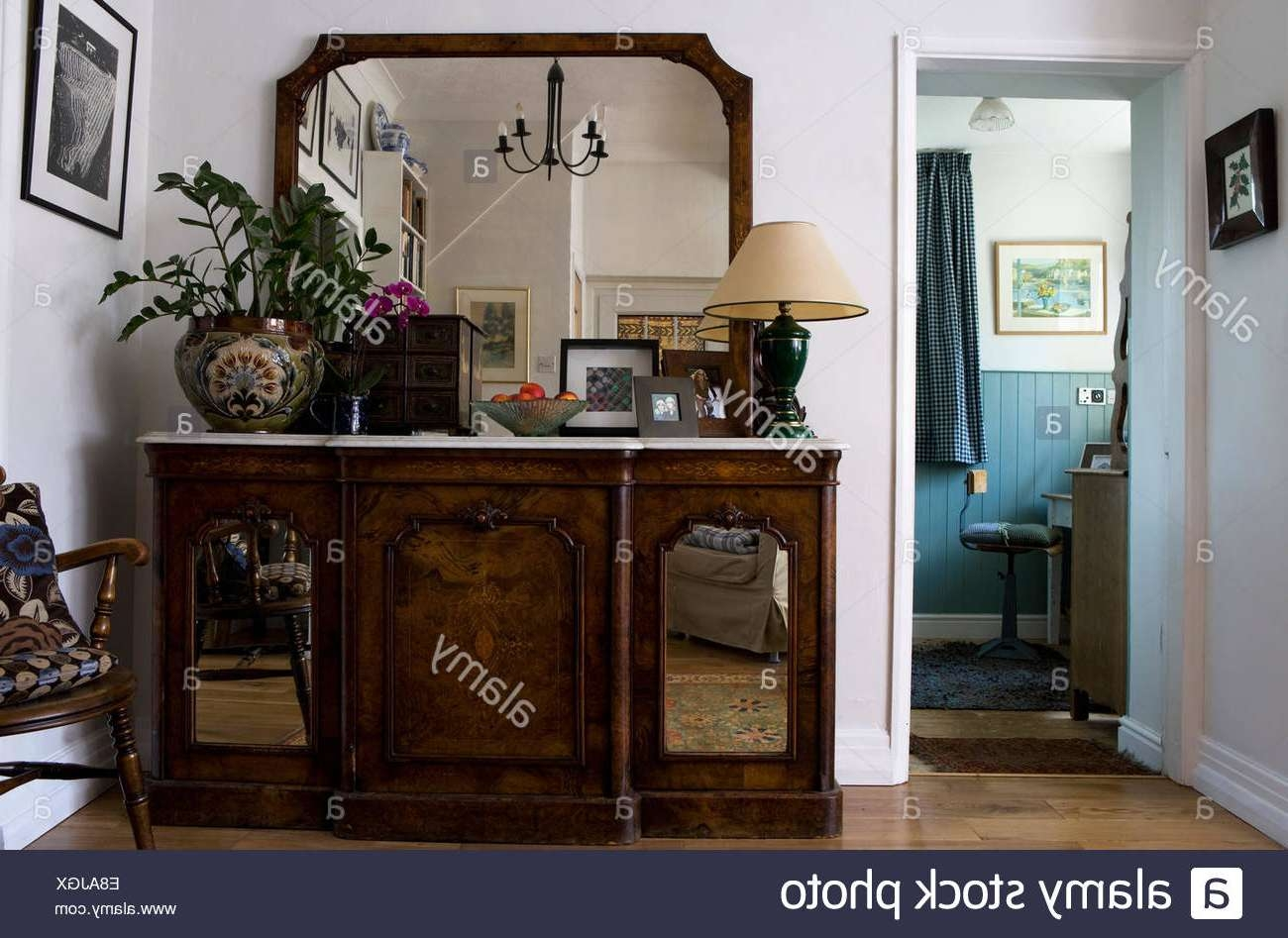 Large Mirror Above Marble Topped Antique Sideboard With Mirrored With Regard To Antique Sideboards With Mirror (View 11 of 20)