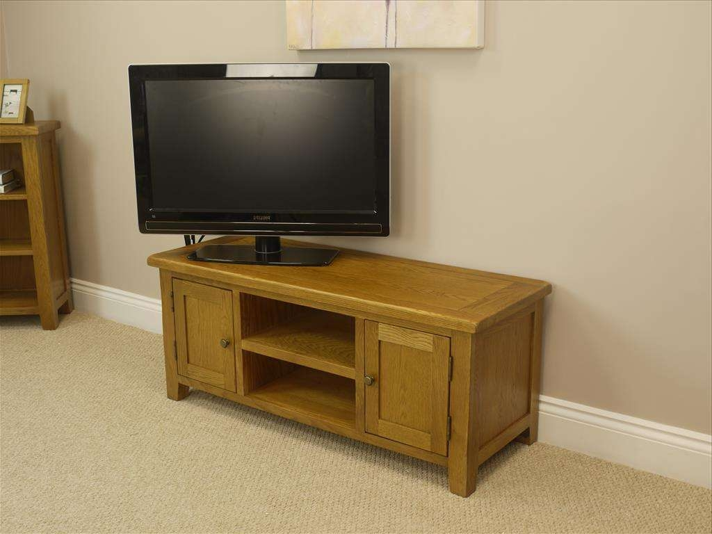 Large Oak Tv Unit / Solid 2 Door Plasma Cabinet / Lcd Furniture Within Large Oak Tv Cabinets (View 5 of 20)
