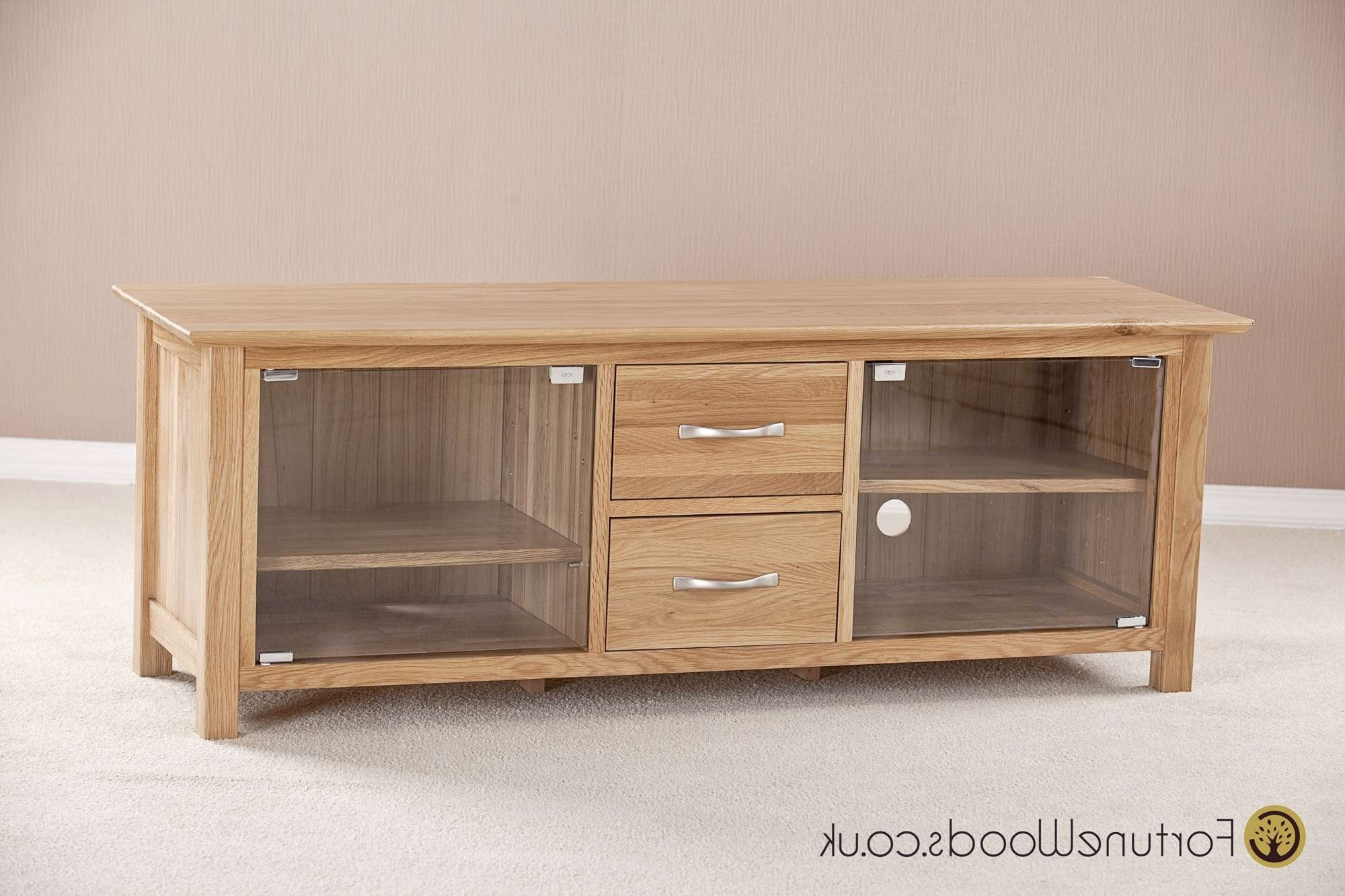 Large Oak Tv Unit With Glass Doors In Oak Tv Cabinets With Doors (View 4 of 20)