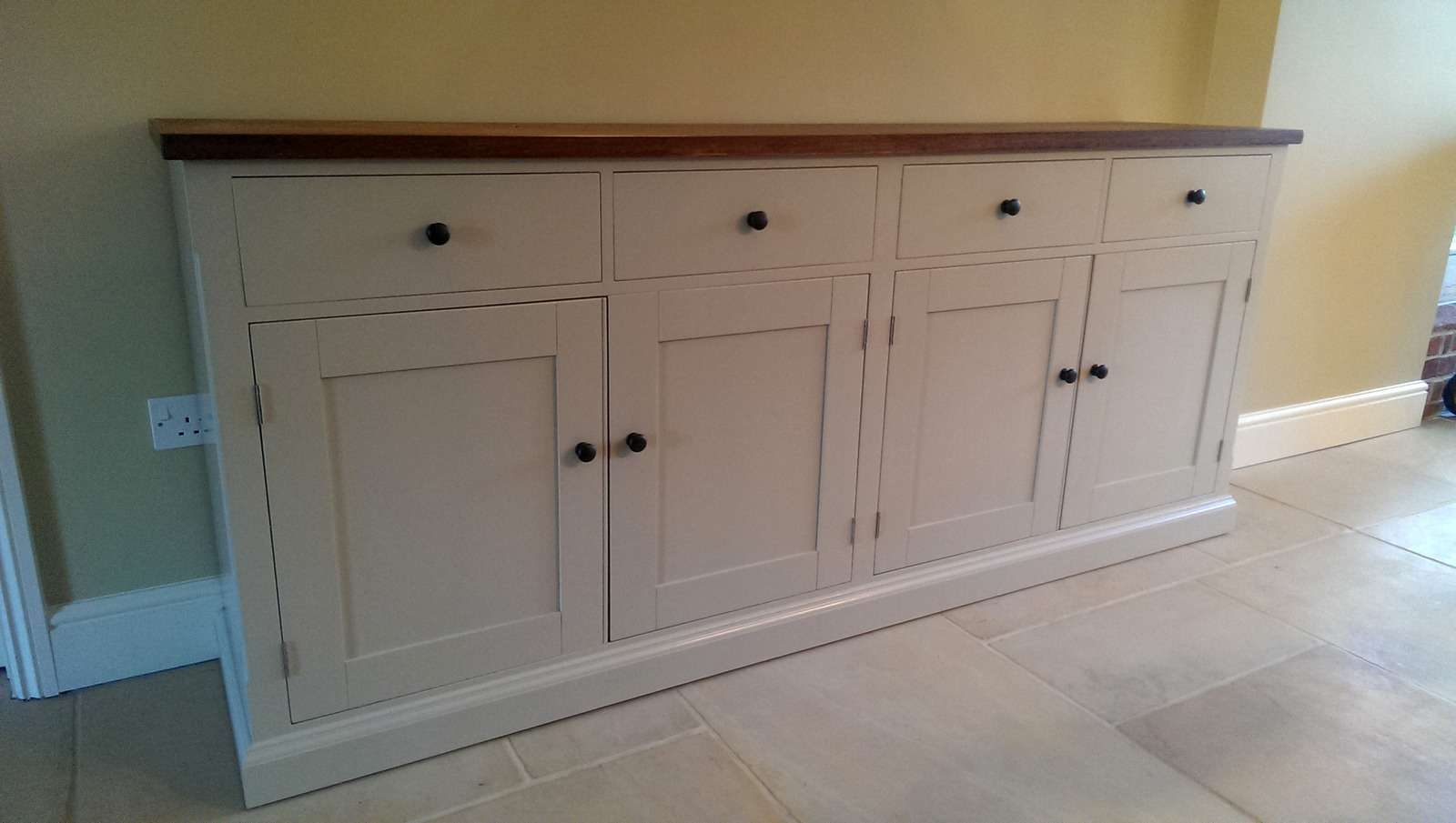 Large Painted Sideboard With Oak Top – Bespoke Kitchen And Dining Throughout Kitchen Sideboards (View 11 of 20)