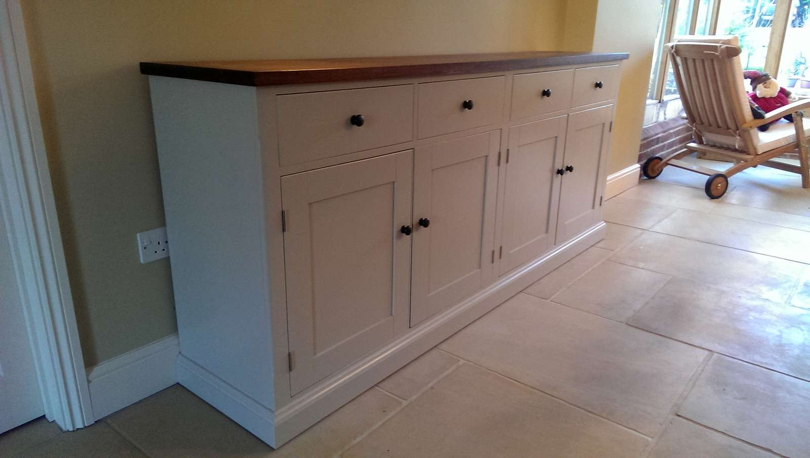 Large Painted Sideboard With Oak Top – Solid Wood & Painted Made With Bespoke Sideboards (View 9 of 20)