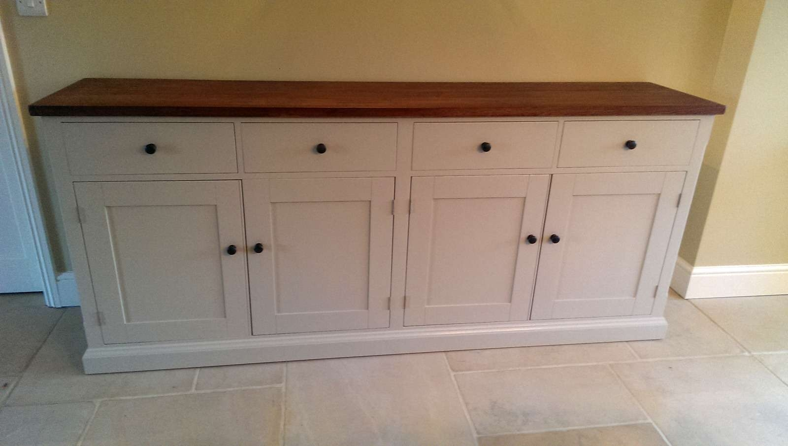 Large Painted Sideboard With Oak Top – Solid Wood & Painted Made With Regard To Sideboards Furniture (View 7 of 20)
