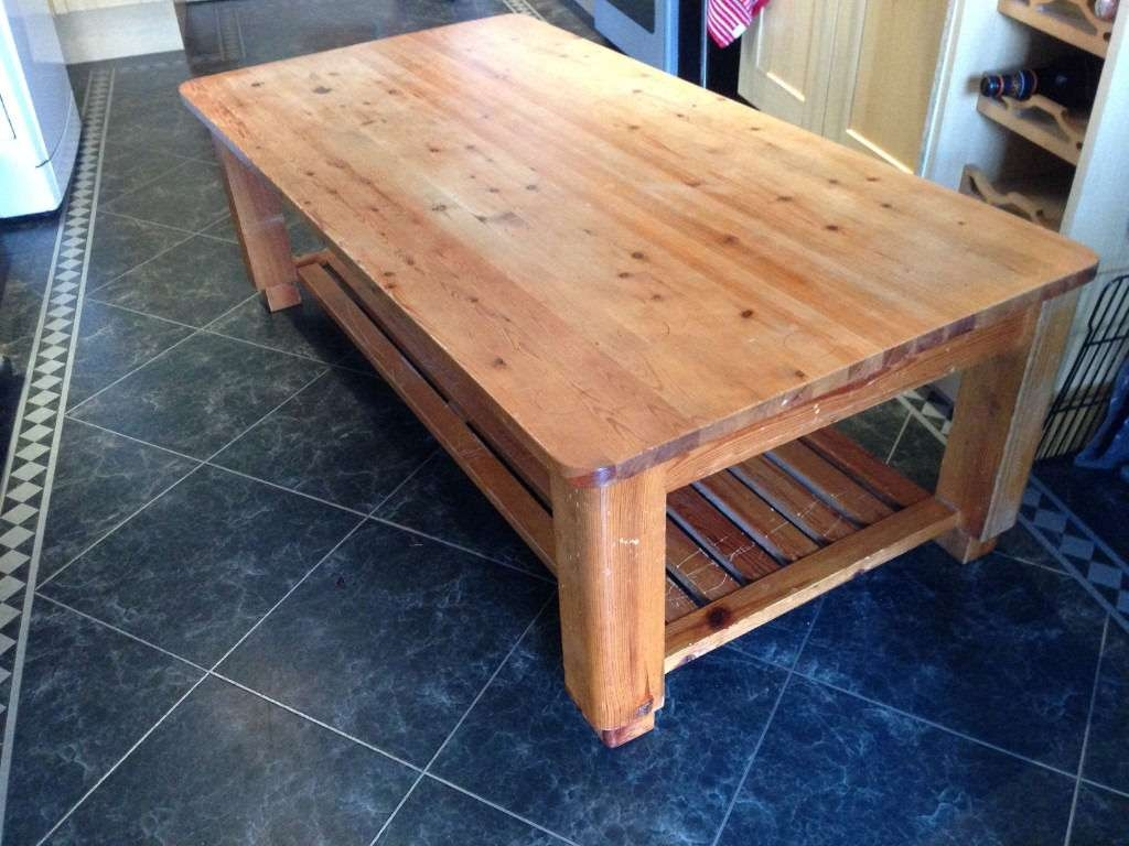 Large Pine Coffee Table With Slatted Shelf Underneath (View 9 of 20)