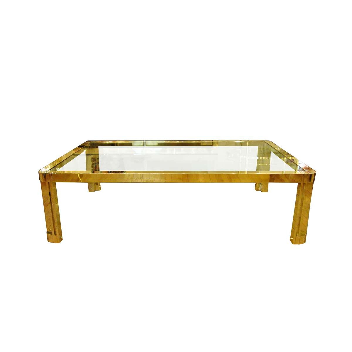 Large Rectangular Brass And Glass Coffee Table With Incised Design Throughout Famous Large Glass Coffee Tables (View 13 of 20)
