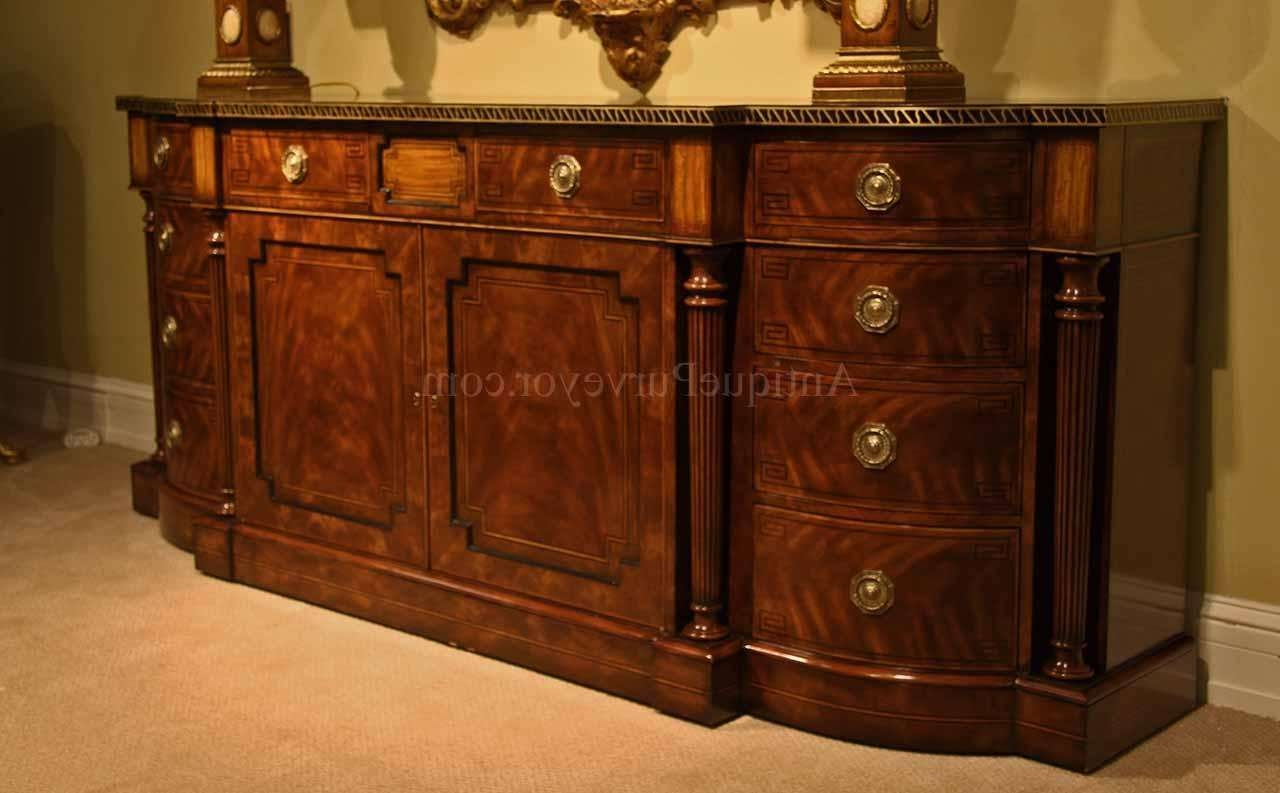 Large Regency Style Flame Mahogany Sideboard Or Credenza With Regard To Credenza Sideboards (View 12 of 20)