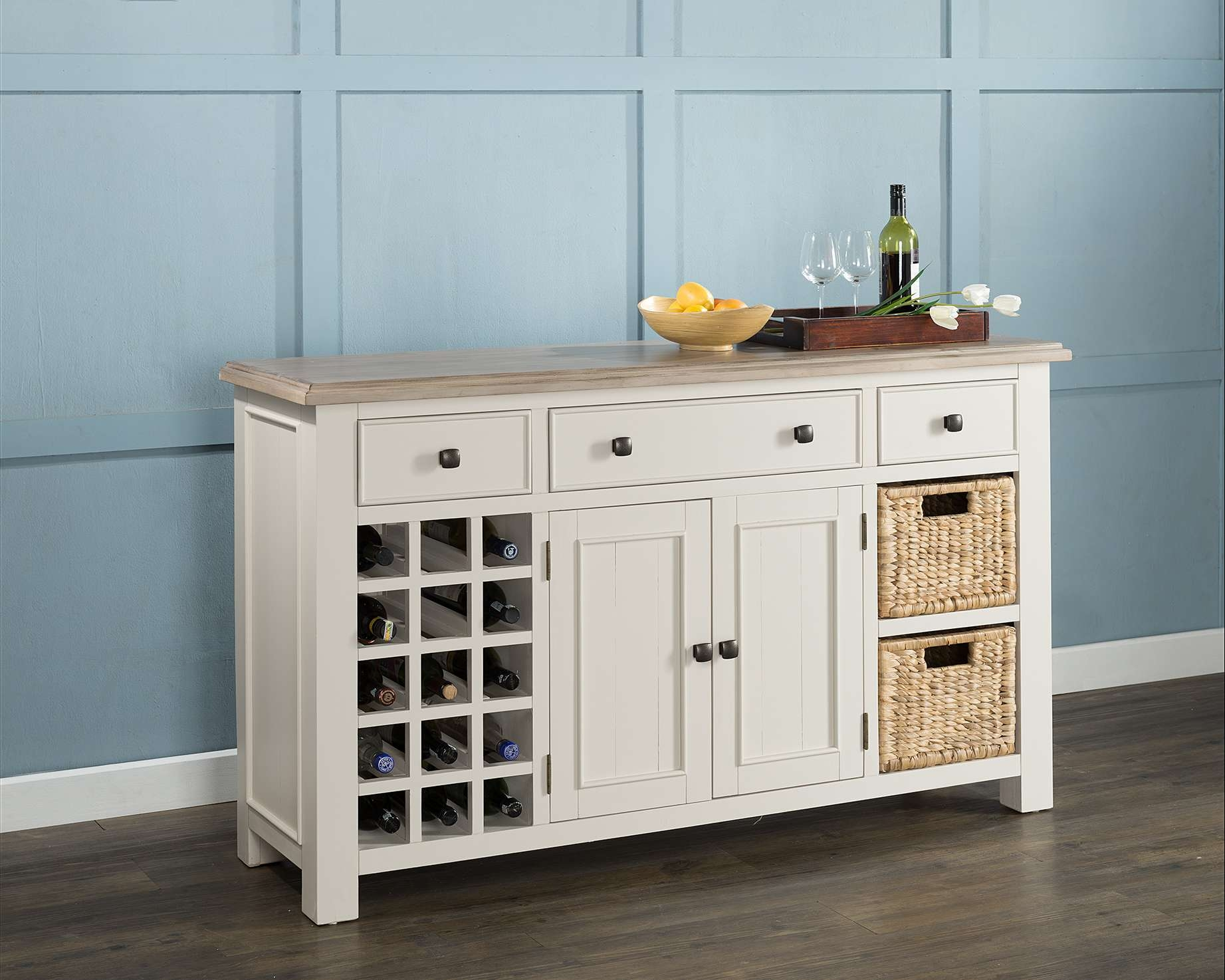 Large Sideboard With Wine Rack & Baskets (54 15) – Papaya Trading For Sideboards With Wine Rack (View 7 of 20)