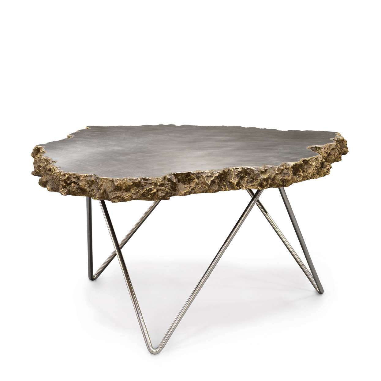Large Stainless Steel And Lava Stone Coffee Table – Mecox Gardens With Most Recent Stone Coffee Table (View 12 of 20)