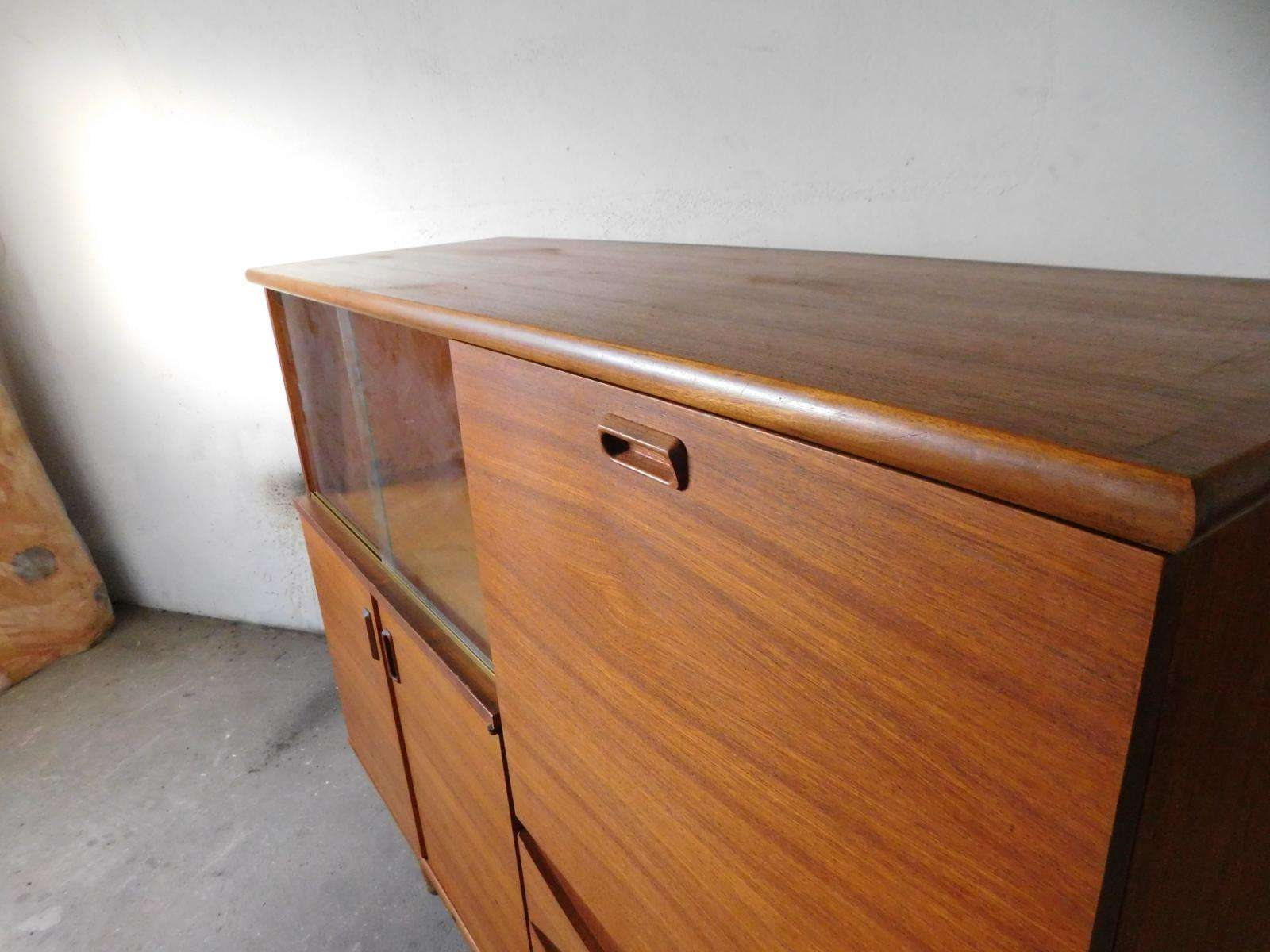 Large Teak Sideboard With Sliding Glass Doors, 1960s For Sale At Throughout Sideboards With Glass Doors And Drawers (View 10 of 20)