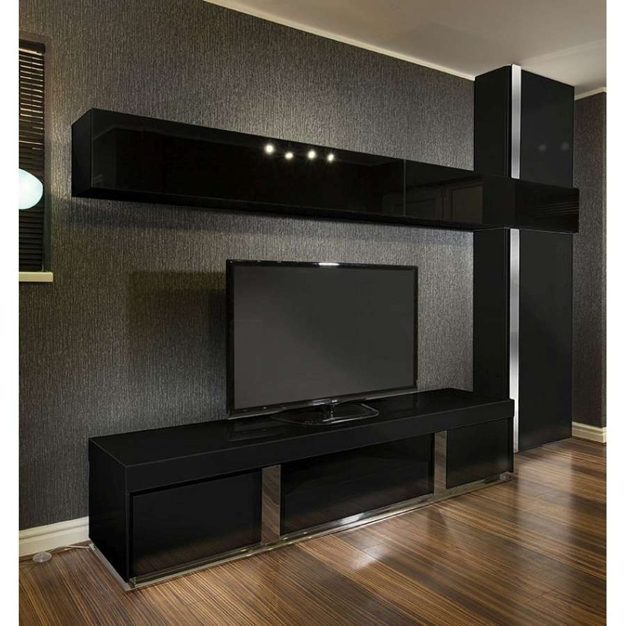 Large Tv Stand + Wall Mounted Storage Cabinet Black Glass Black Within Large Tv Cabinets (View 11 of 20)