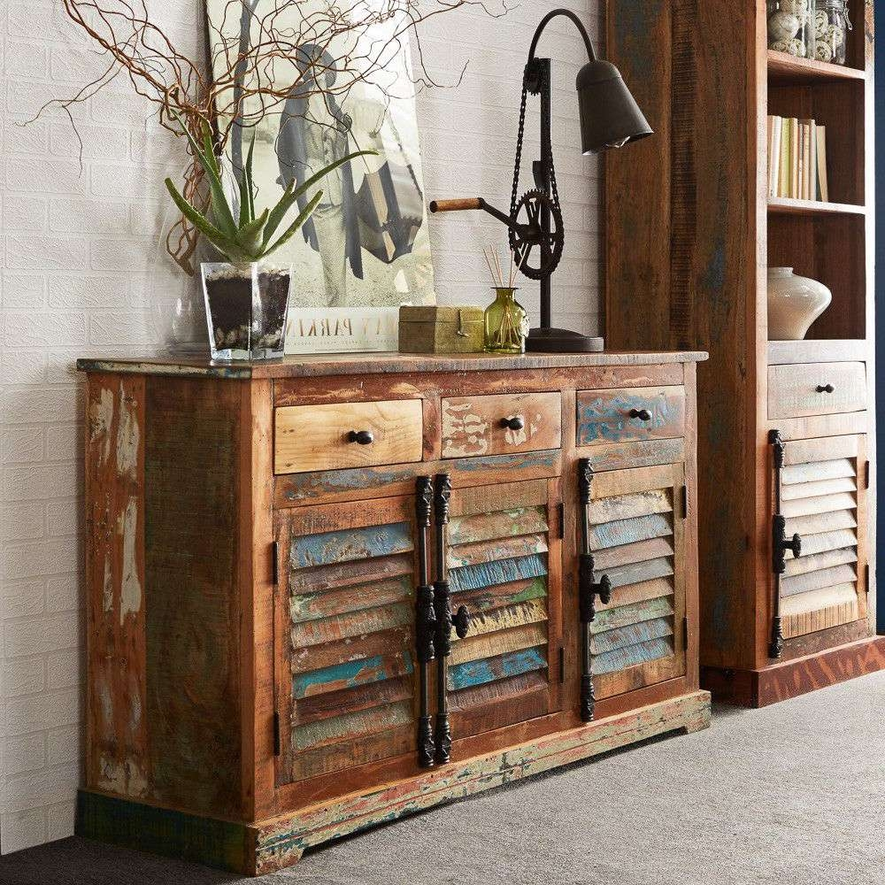Large Vintage Distressed Sideboard With 3 Drawers – Coastal With Regard To Distressed Sideboards (View 7 of 20)