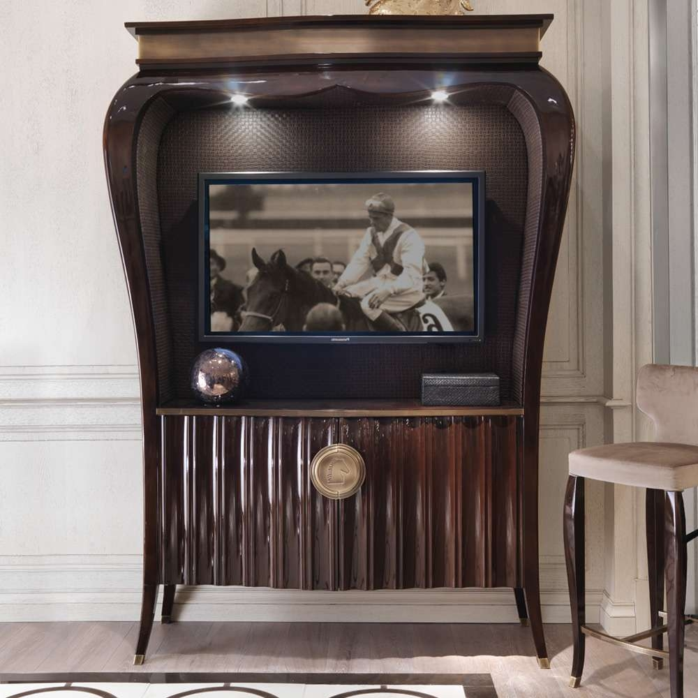 Large Wooden Art Deco Style Tv Cabinet | Juliettes Interiors With Large Tv Cabinets (View 13 of 20)