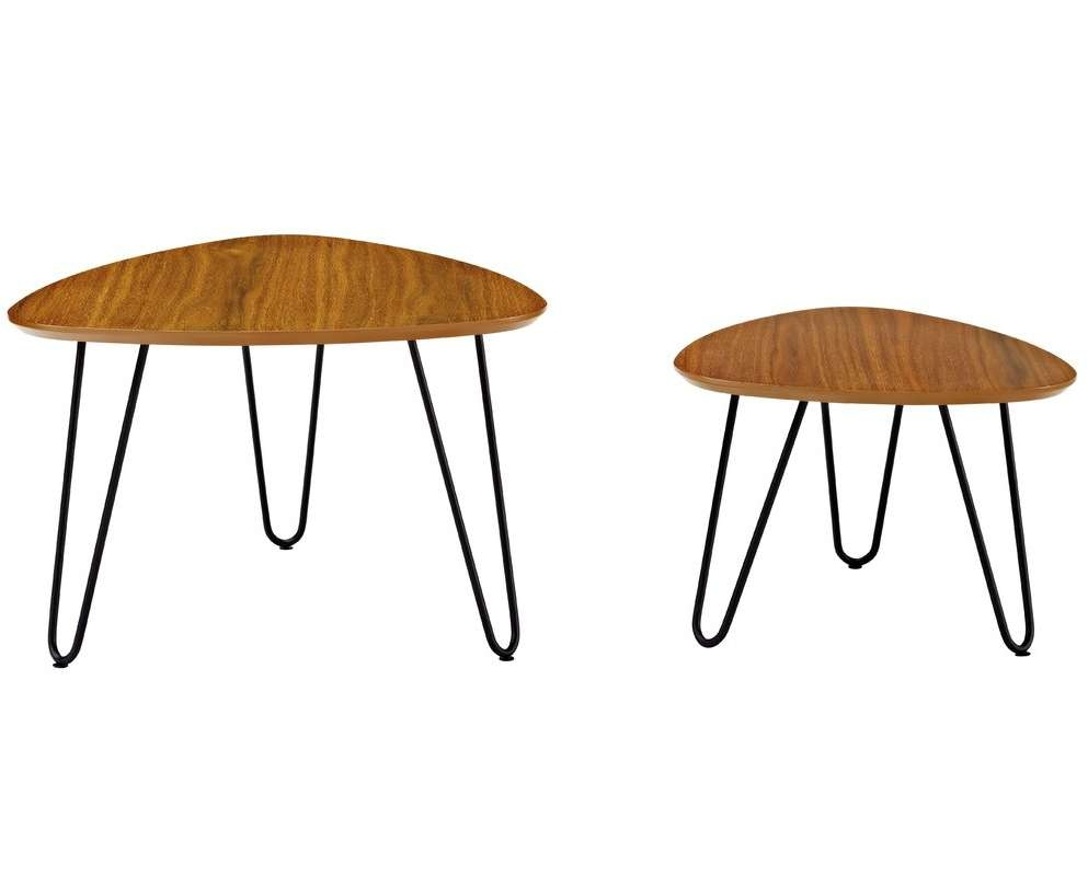 Latest 2 Piece Coffee Table Sets Throughout Wrought Studio Bisson Hairpin Leg Wood 2 Piece Coffee Table Set (View 8 of 20)
