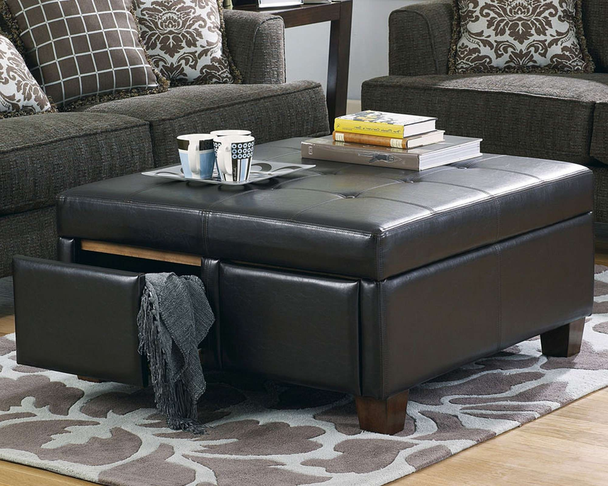 Latest Brown Leather Ottoman Coffee Tables With Storages Pertaining To Coffee Tables : Small Tufted Ottoman Round Storage Coffee Table (View 8 of 20)