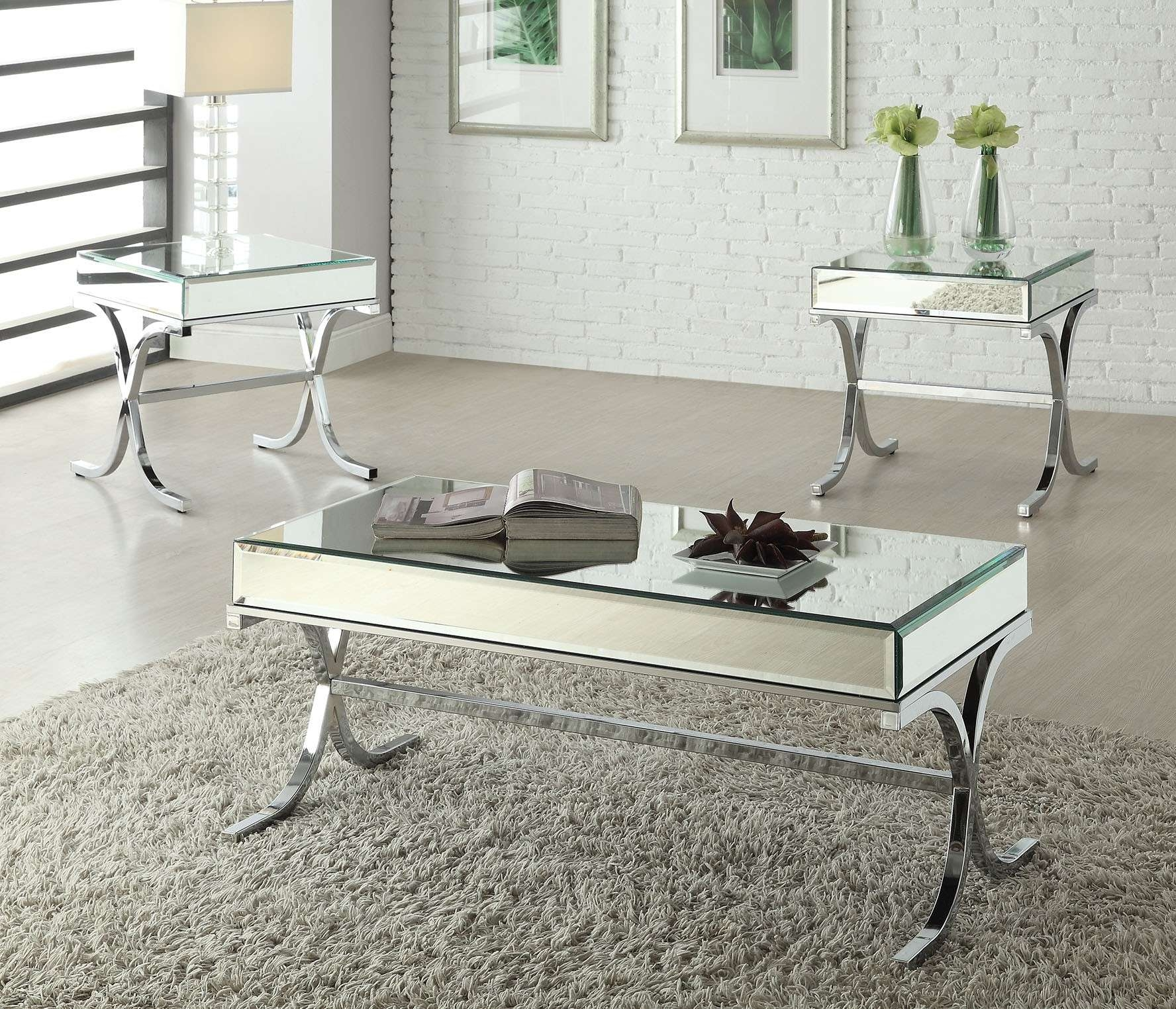 Latest Chrome Coffee Tables In Yuri Mirrored Top Chrome Coffee Table – Shop For Affordable Home (View 13 of 20)