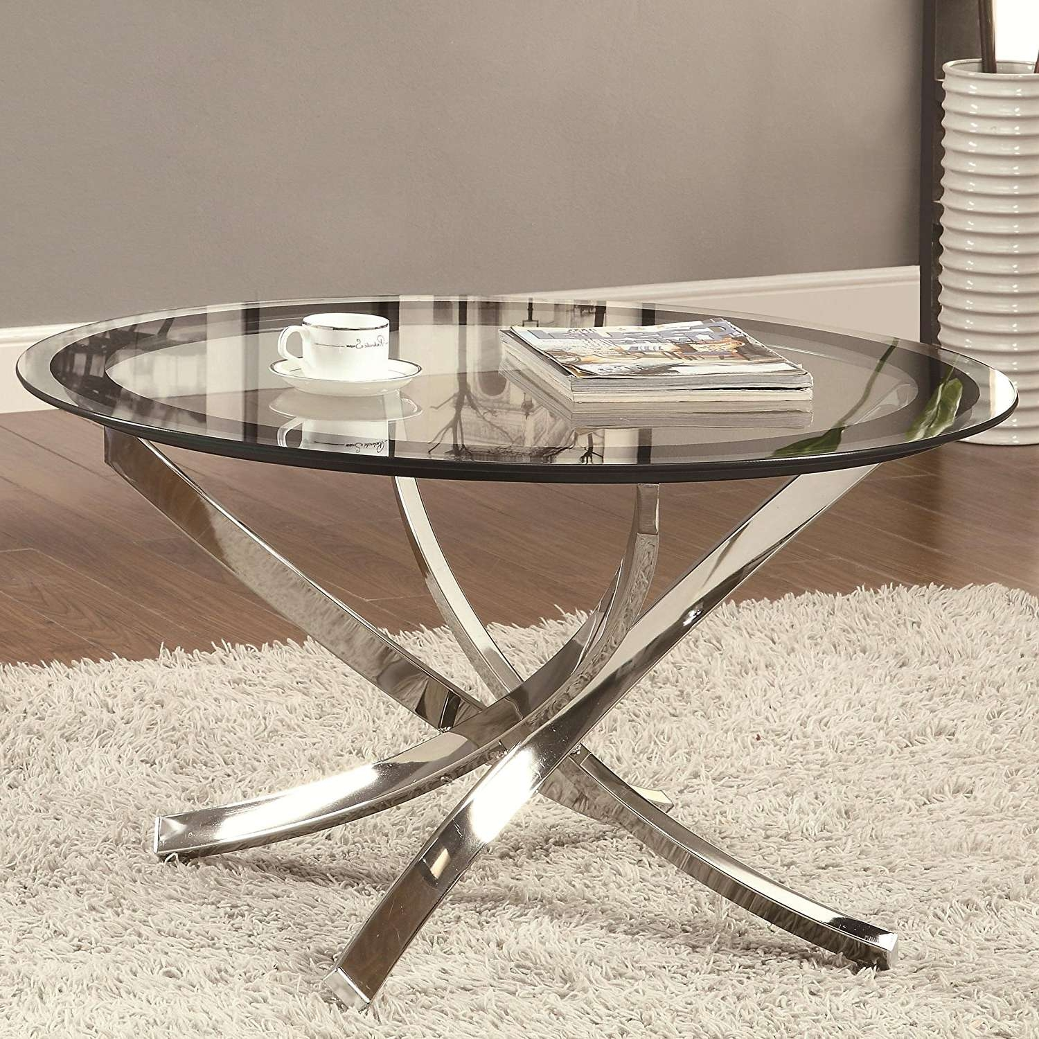 Latest Chrome Glass Coffee Tables Pertaining To Coffee Table : Marvelous Small Round Glass Coffee Table Gold (View 7 of 20)