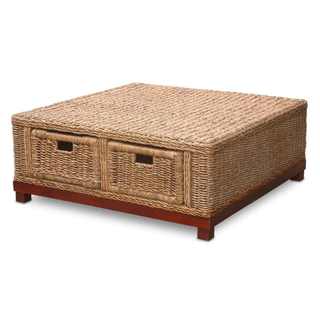 2018 Latest Coffee Table With Wicker Basket Storage