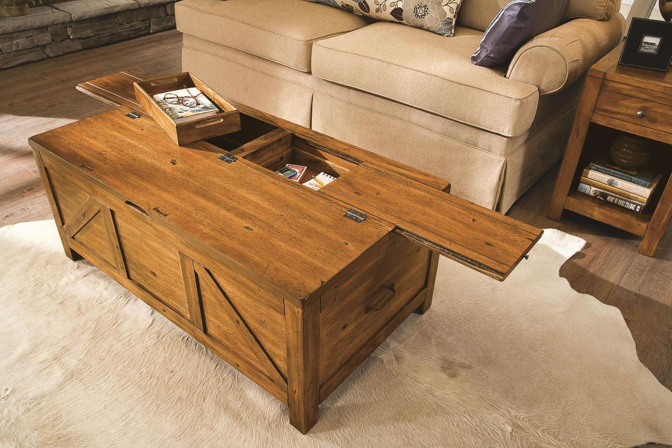 Latest Coffee Tables With Box Storage Throughout Coffee Tables : Large Round Coffee Table Wood Square Storage Chest (View 4 of 20)