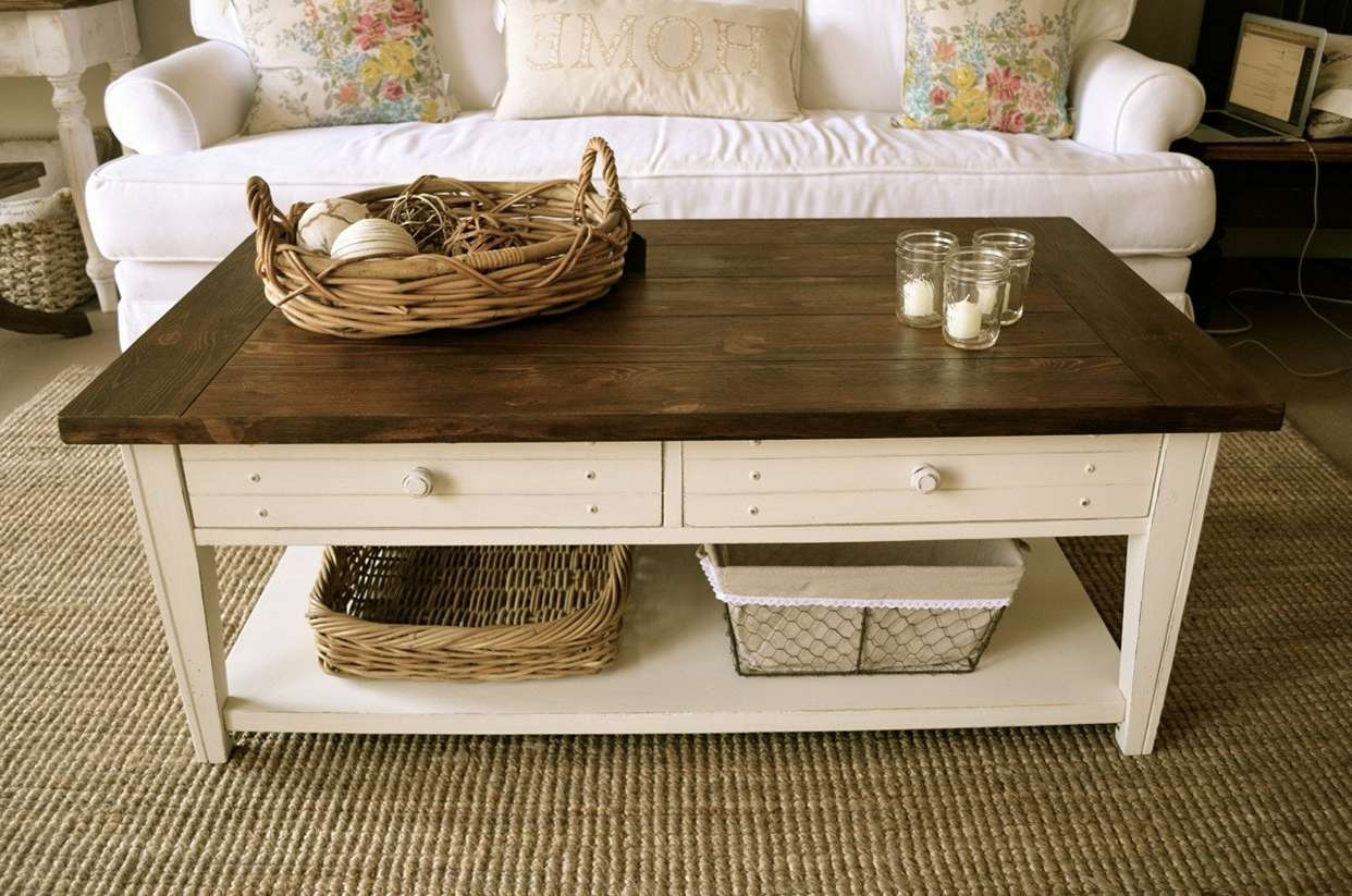 Latest Farmhouse Coffee Tables Throughout Coffee Tables : Attractive Farmhouse Coffee Tables Ideas Table  (View 9 of 20)