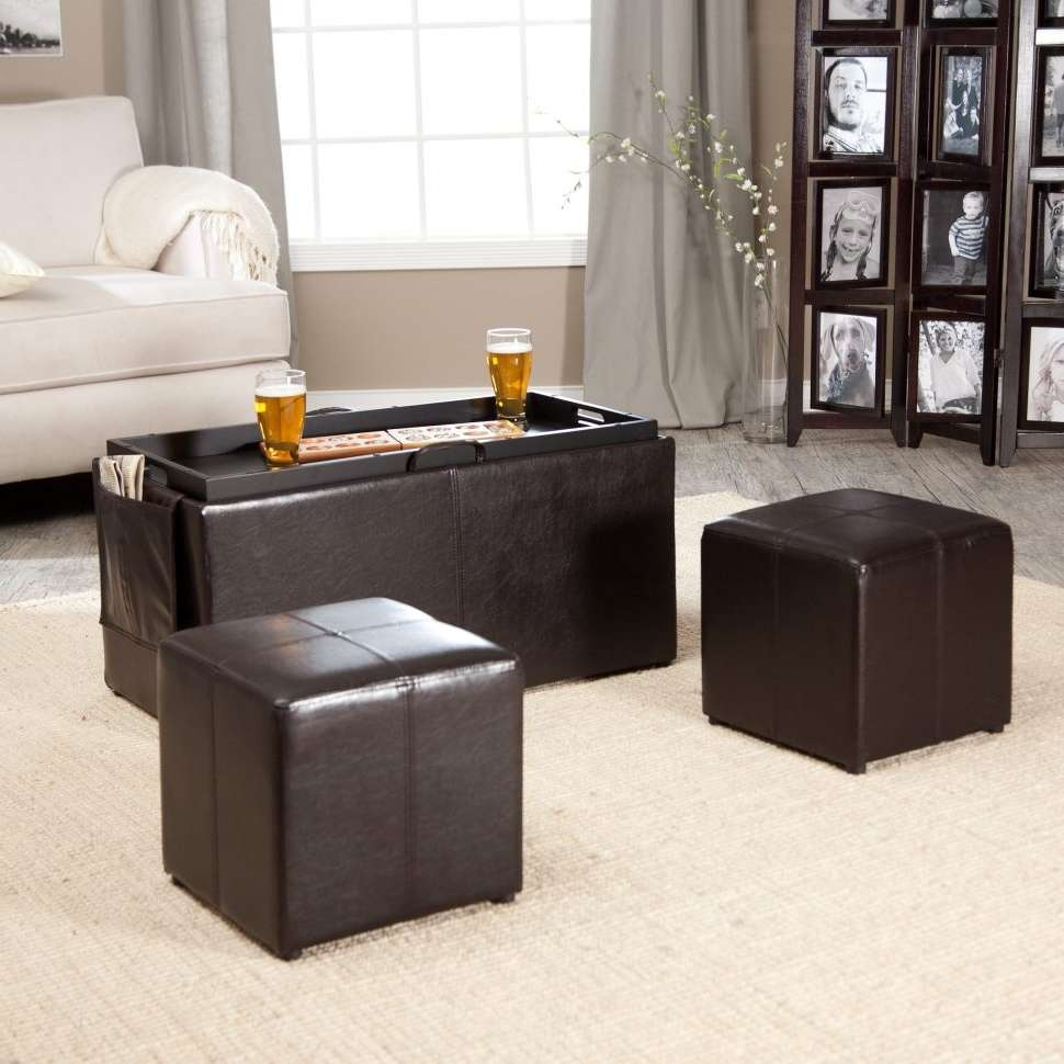Latest Footstool Coffee Tables Intended For Coffee Tables : Storage Footstool Round Leather Ottoman Modern (View 17 of 20)