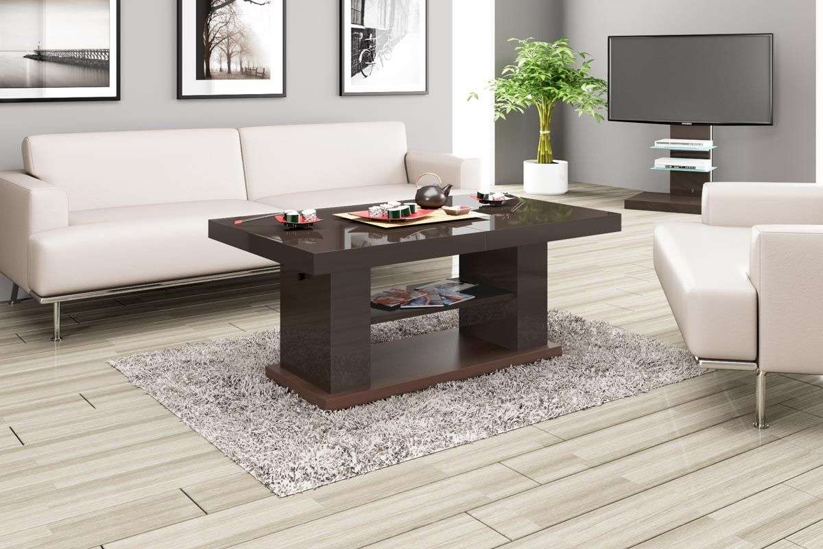 Latest High Coffee Tables Within Matera 2 Brown High Gloss Coffee Table (View 3 of 20)