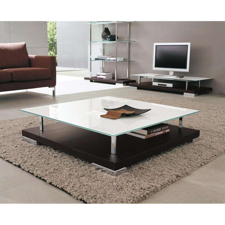 Latest Large Low Square Coffee Tables Regarding Coffee Tables : Glass Top Coffee Table Large Sets Marble White (View 16 of 20)