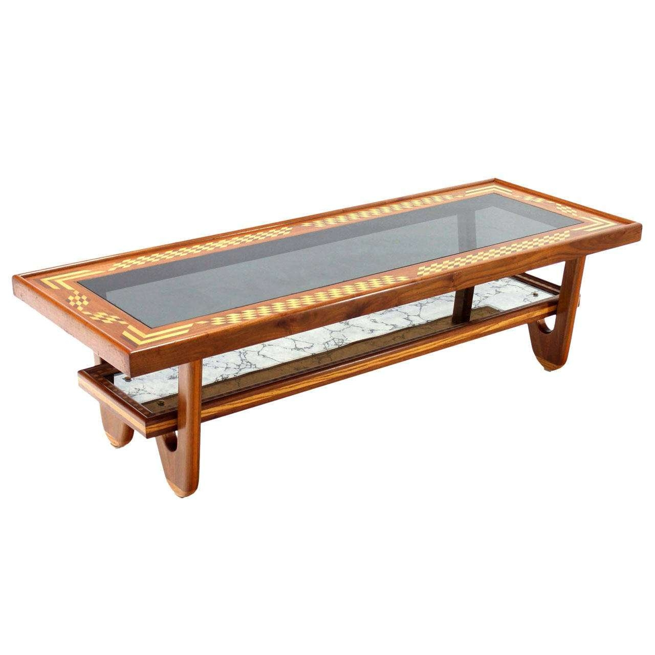 Latest Long Coffee Tables With Regard To Walnut Smoked Glass Top Marquetry Design Long Coffee Table For (View 10 of 20)
